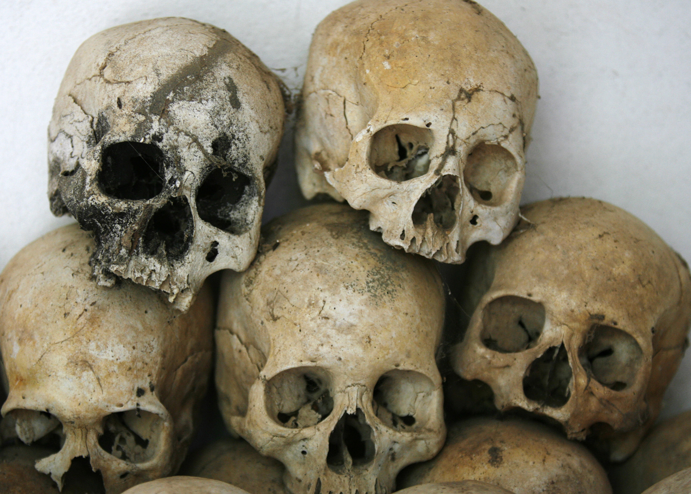 Skulls are stacked on top of each other at a Killing Fields memorial in Batey district in Kampong Cham province, 125 km (78 miles) east of Phnom Penh on March 28, 2009