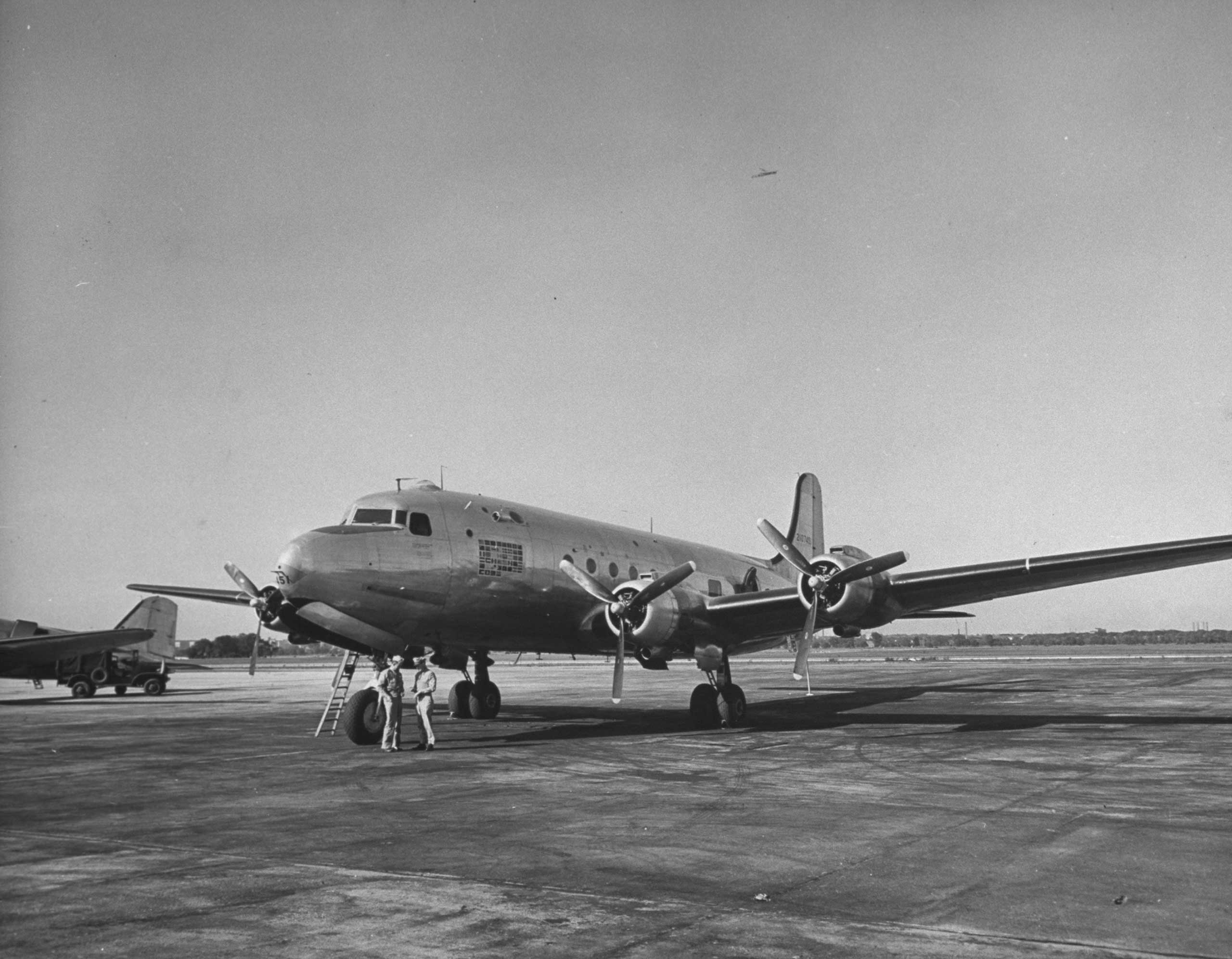 After the original Air Force One, a C-87A Liberator Express nicknamed <i>Guess Where II</i>, was deemed unsafe for presidential use, this Douglas C-54 Skymaster, nicknamed <i>Sacred Cow</i> was introduced for President Franklin D. Roosevelt in 1945. It was equipped with a radio telephone, sleeping area, and elevator for President Roosevelt's wheelchair.
