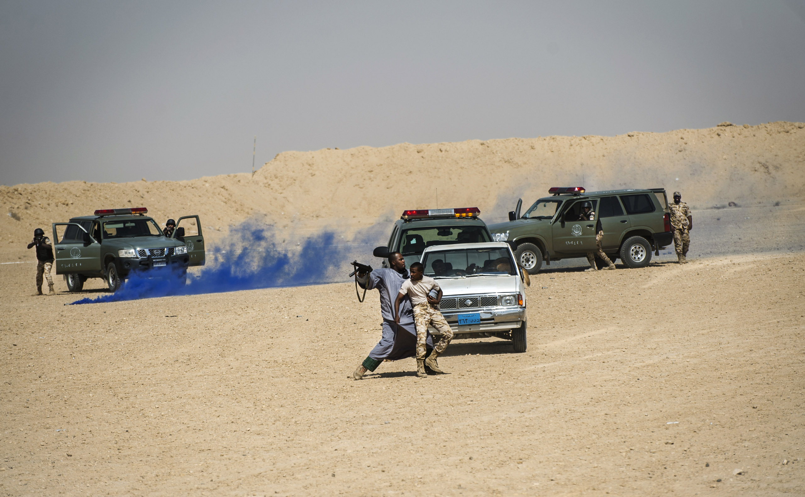 Troops with the Saudi Special Security Forces demonstrate how they respond to a hostage situation, March 5, 2013.
