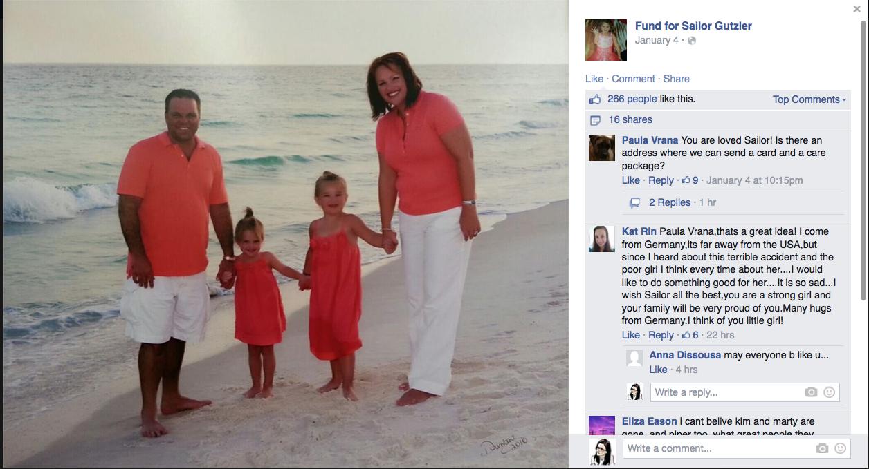 A Facebook fundraising page for Sailor Gutzler