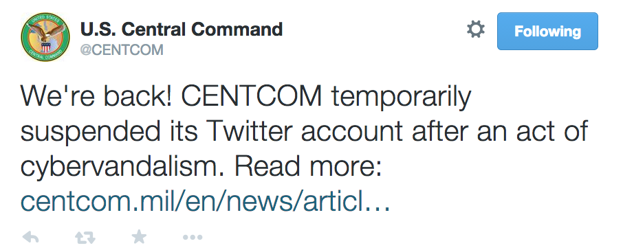 Central Command's feed was back in operation Tuesday.