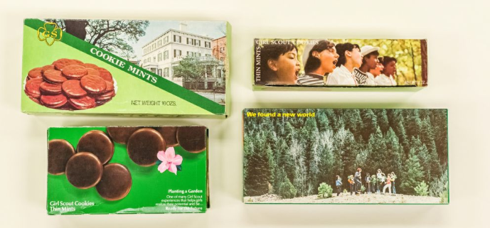 Vintage Thin Mints and Cookie Mints boxes from the 1970's