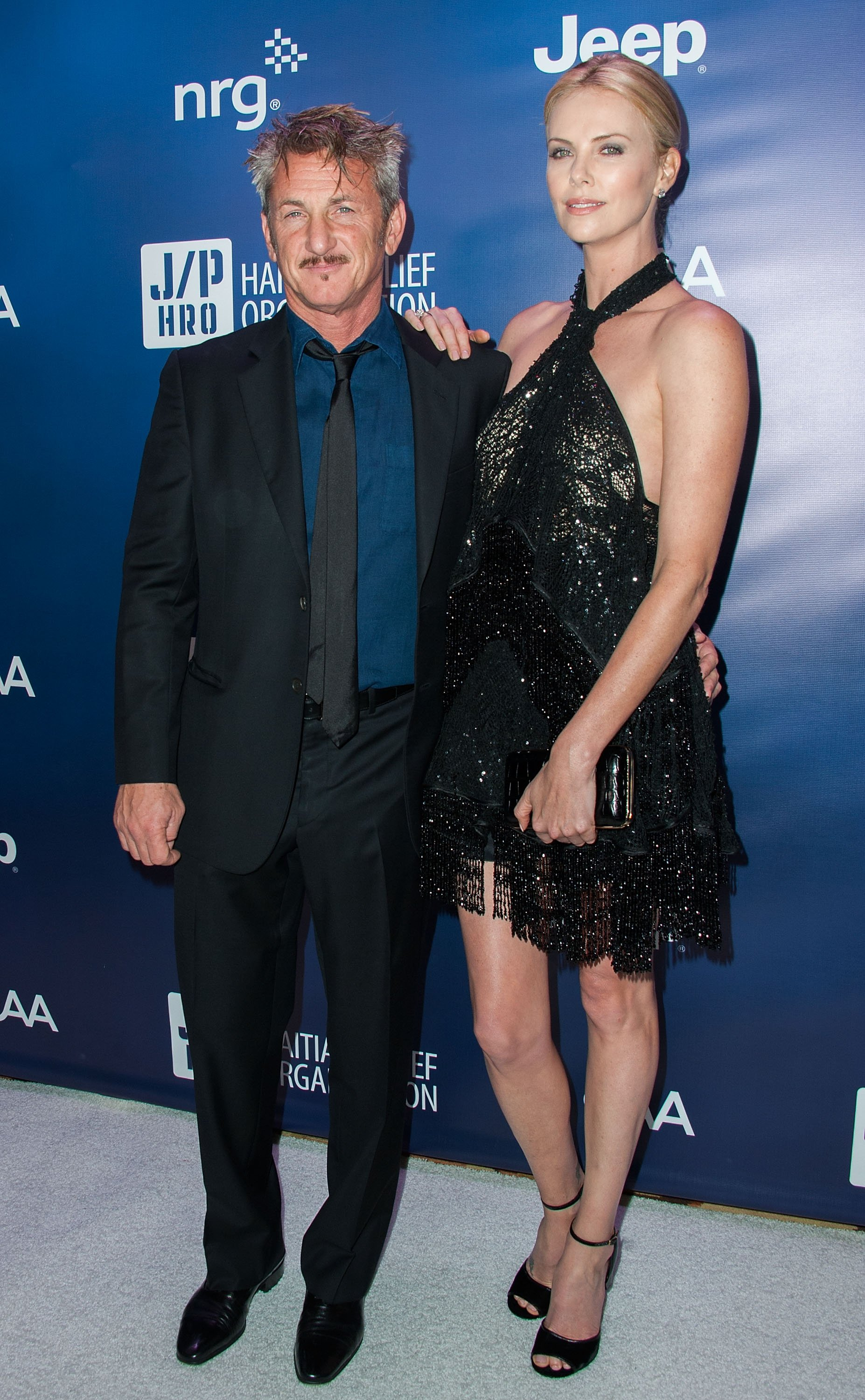 Actors Sean Penn and Charlize Theron arrive at the 4th Annual Sean Penn & Friends HELP HAITI HOME Gala Benefiting J/P Haitian Relief Organization at Montage Hotel on Jan. 10, 2015 in Los Angeles.