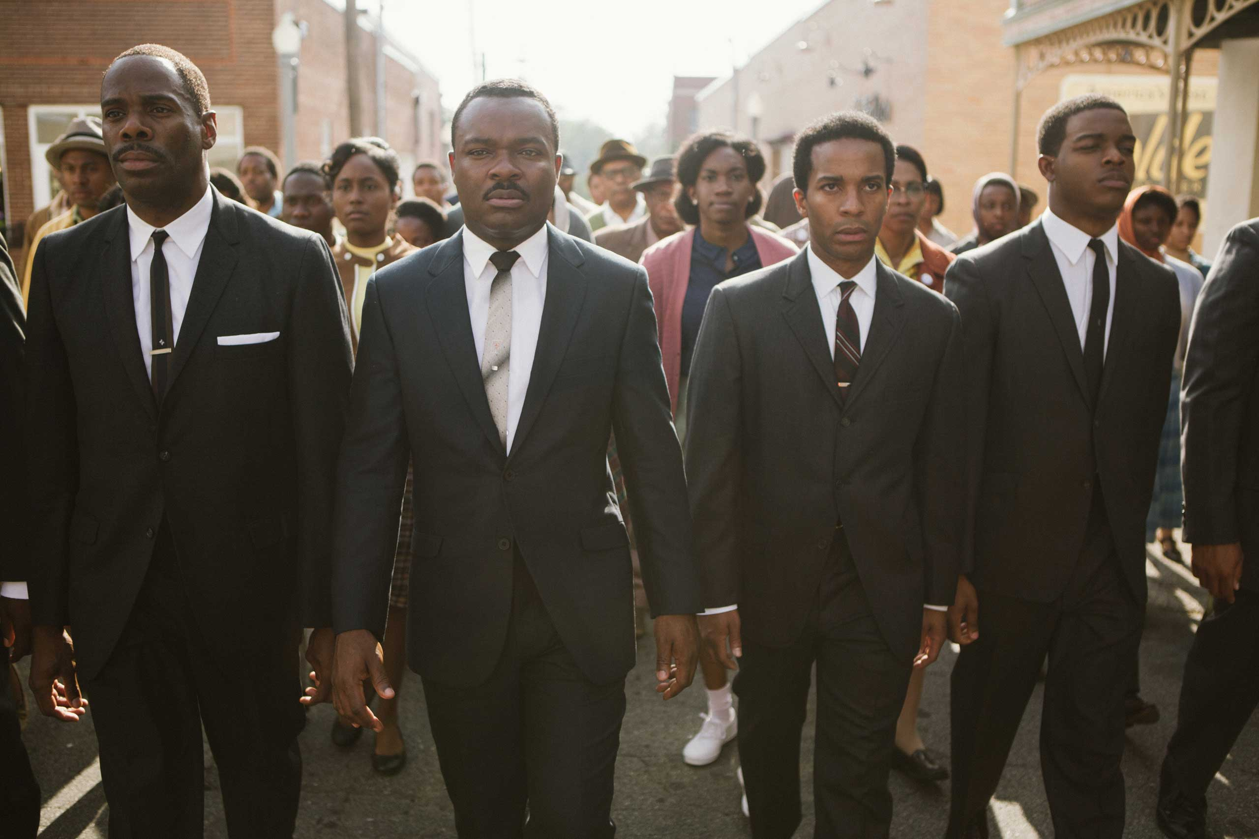 Left to right, foreground: Colman Domingo plays Ralph Abernathy, David Oyelowo plays Dr. Martin Luther King, Jr., André Holland plays Andrew Young, and Stephan James plays John Lewis in Selma.