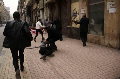 Socialist Popular Alliance Party activist Shaimaa al-Sabbagh collapses after she was shot during a protest by the party in Cairo, Jan. 24, 2015.