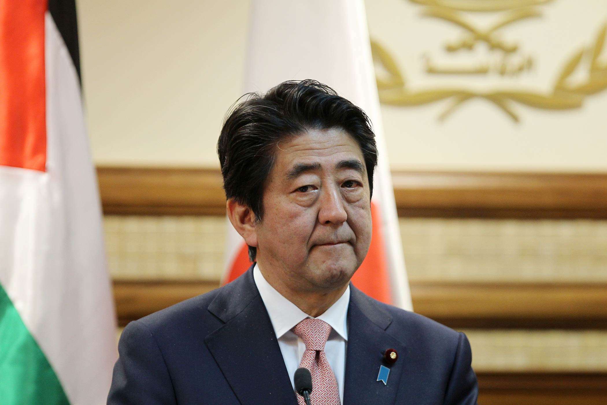 Japan's Prime Minister Shinzo Abe looks on during a press conference with Palestinian president Mahmud Abbas on Jan. 20, 2015, in the West Bank city of Ramallah.