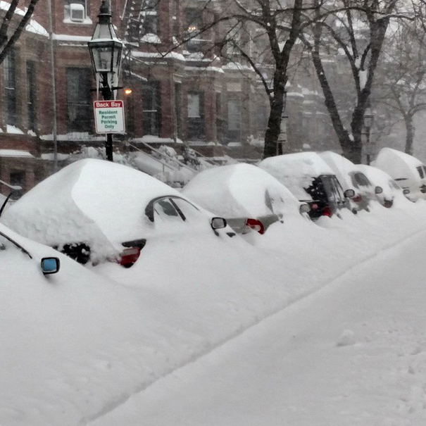 "Brandon Sullivan posted this photo from saying ""These cars in Boston won't be going anywhere soon."""