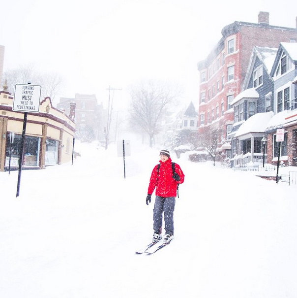 "Marissa McClain posted this photo from Brookline, Mass. saying ""Ventured outside. Found this man skiing down summit."""