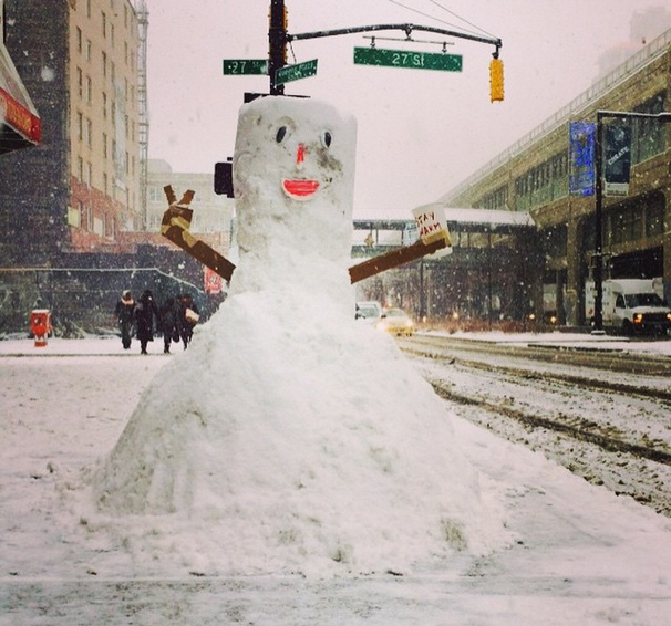 "Andrea Alimonta posted this photo from New York City saying ""Stay Warm!"""