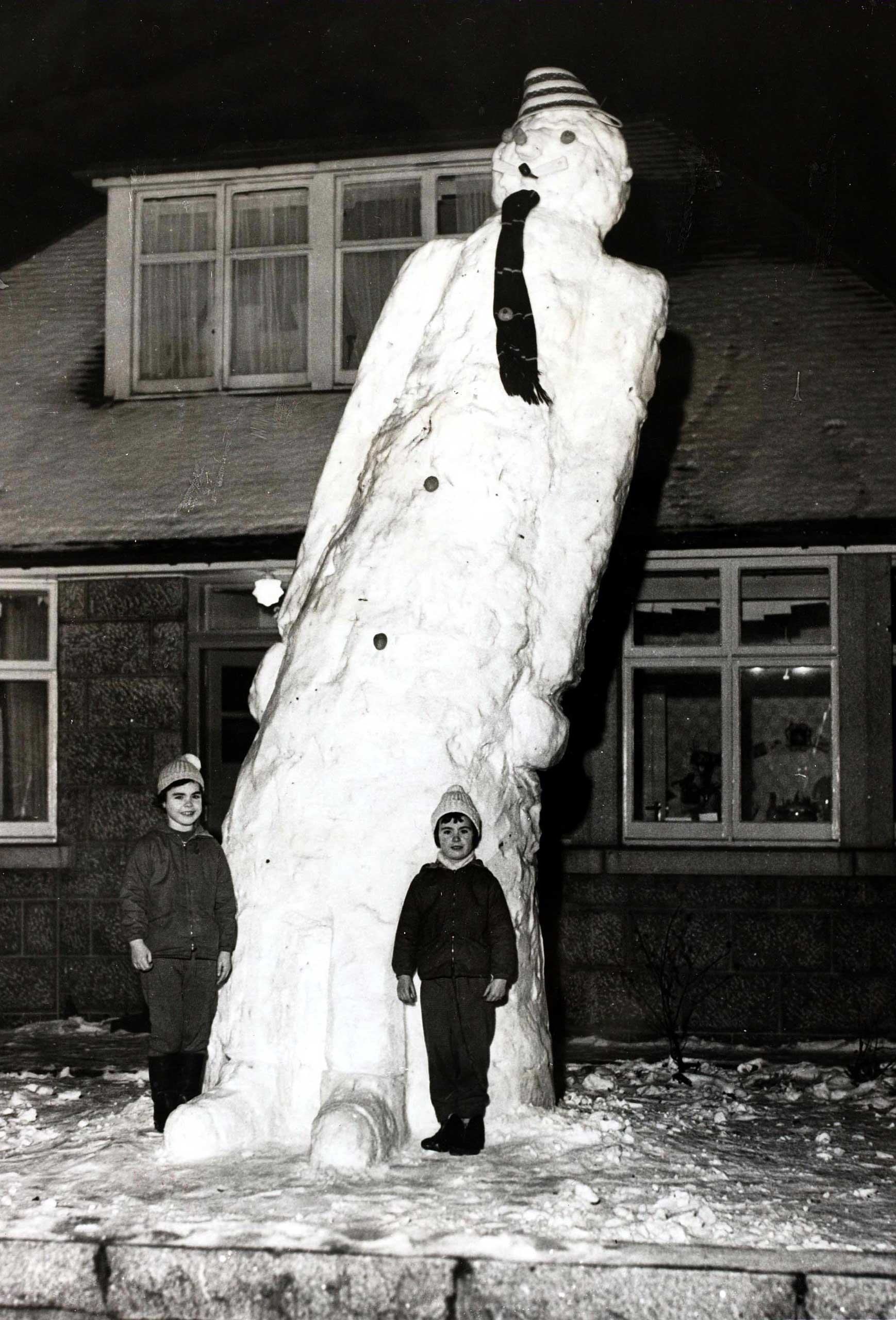 A giant, snowman measuring 17 ft., made by two girls in Aberdeen, Scotland, Jan. 3, 1963.