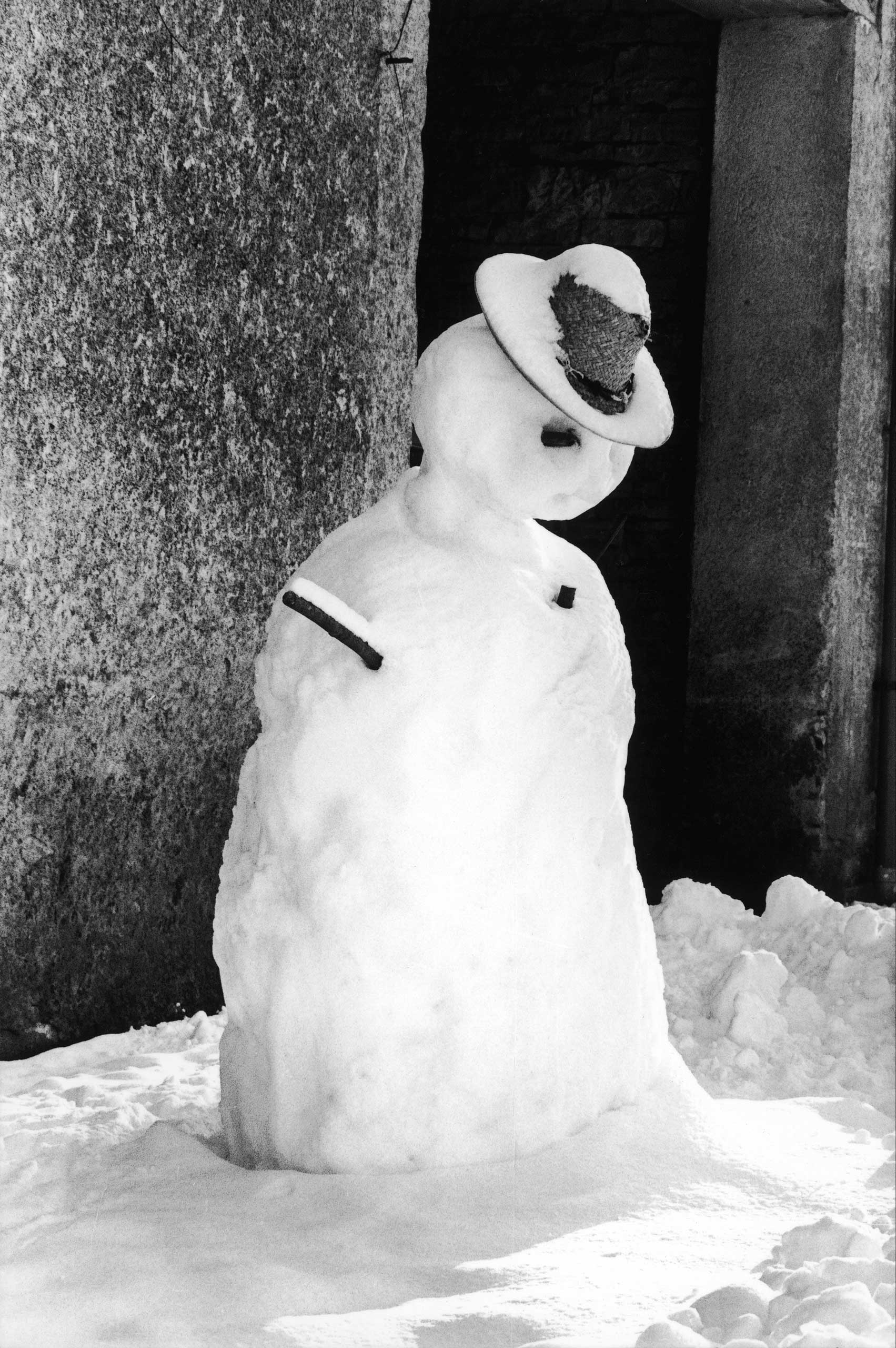 Undated photo of a snowman