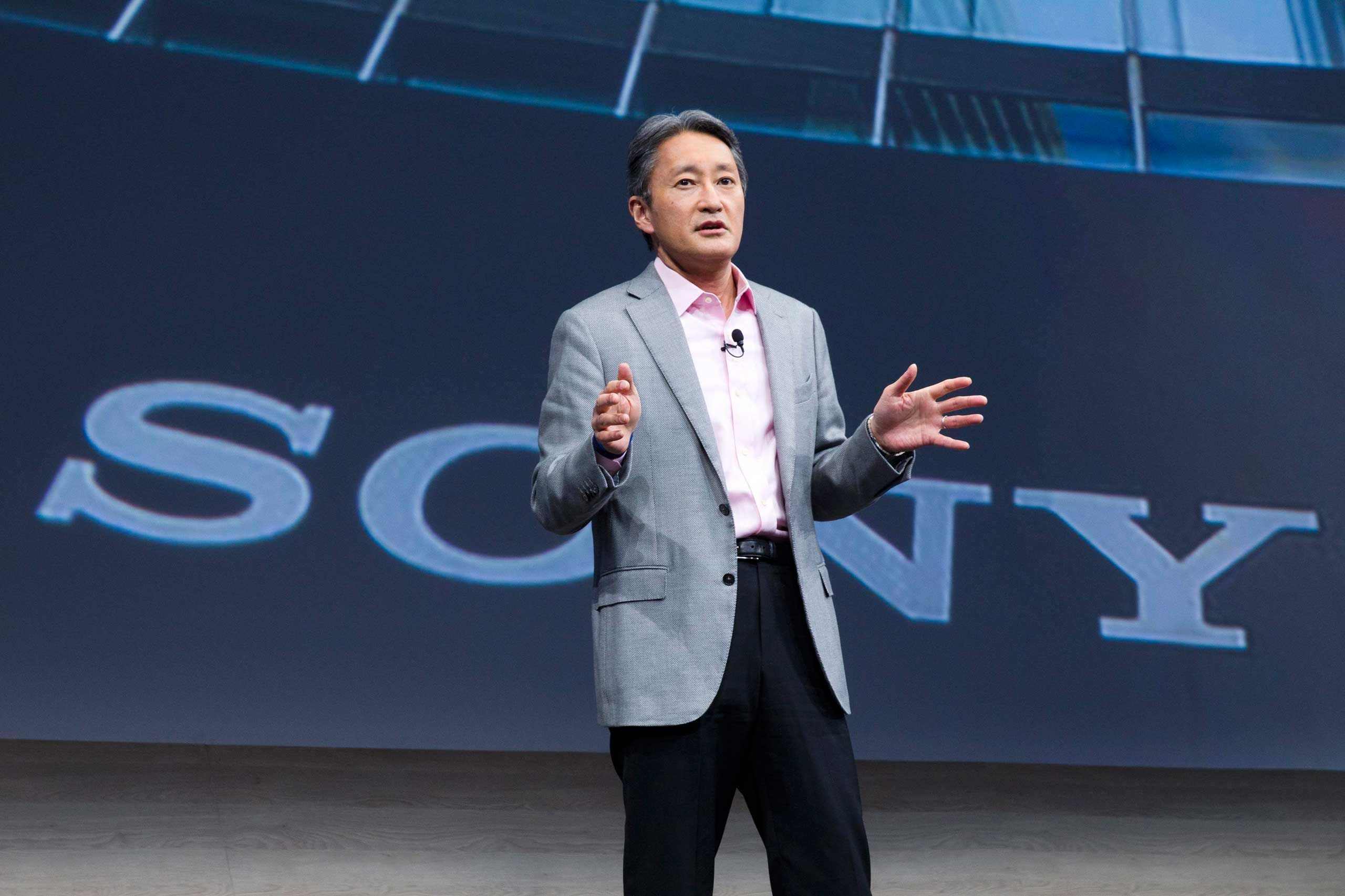 President and CEO of Sony Corporation Kazuo Hirai speaks at a Sony news conference during the 2015 International Consumer Electronics Show (CES) in Las Vegas, Jan. 5, 2015.