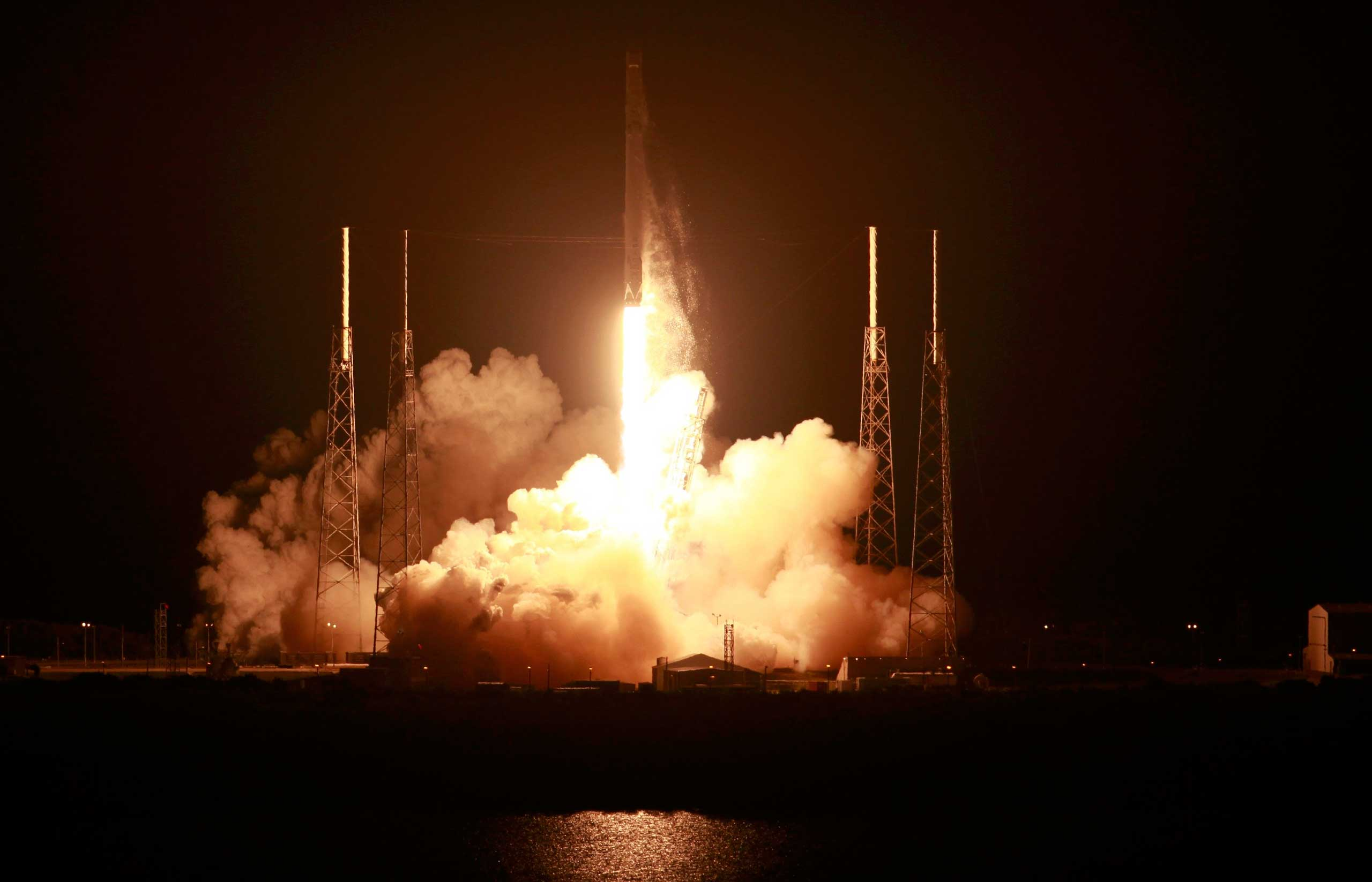 The unmanned Falcon 9 rocket launched by SpaceX on a cargo resupply service mission to the International Space Station lifts off from the Cape Canaveral Air Force Station in Cape Canaveral, Fla. on Jan. 10, 2015.