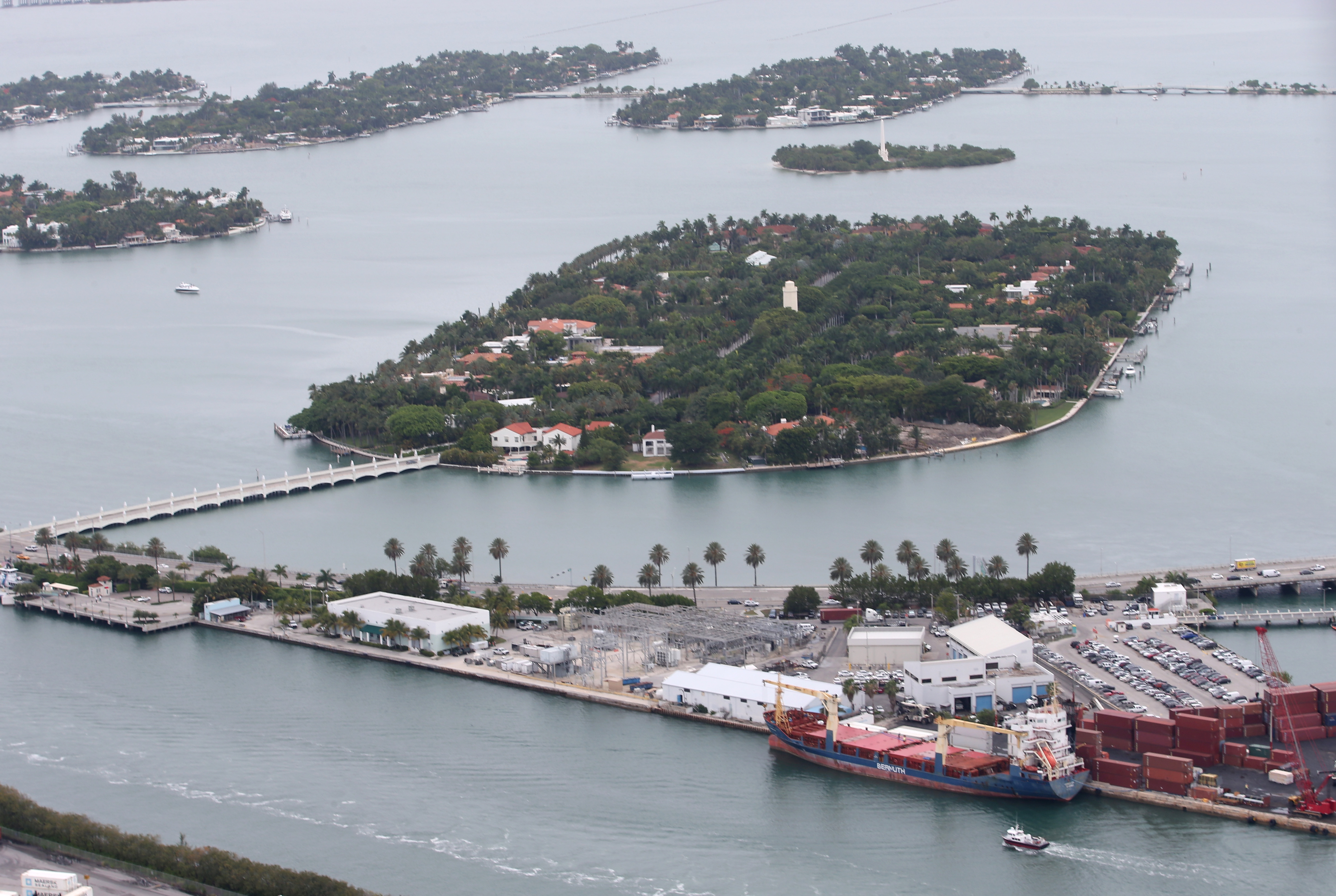Single family homes on Star Island and the Venetian Islands are seen June 3, 2014 in Miami.