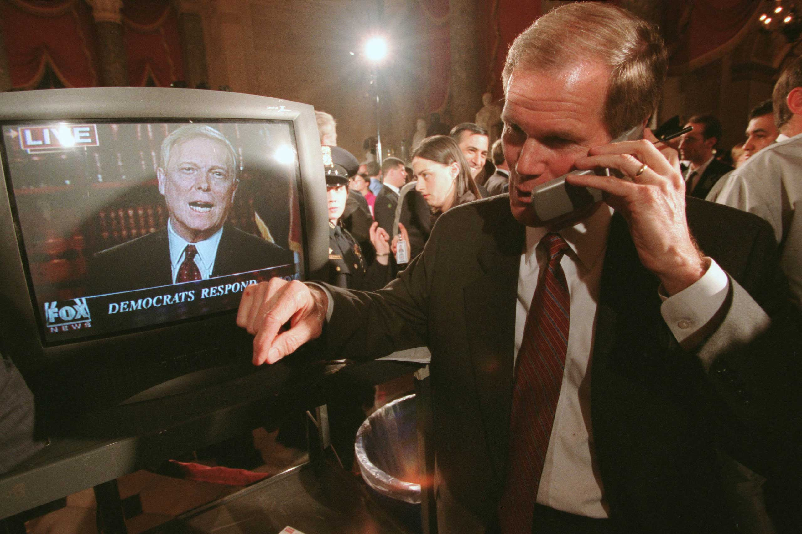 House Minority Leader Dick Gephardt (shown on TV) gave the response to George W. Bush in 2002. After Democrats lost seats that fall, he stepped down from leadership.