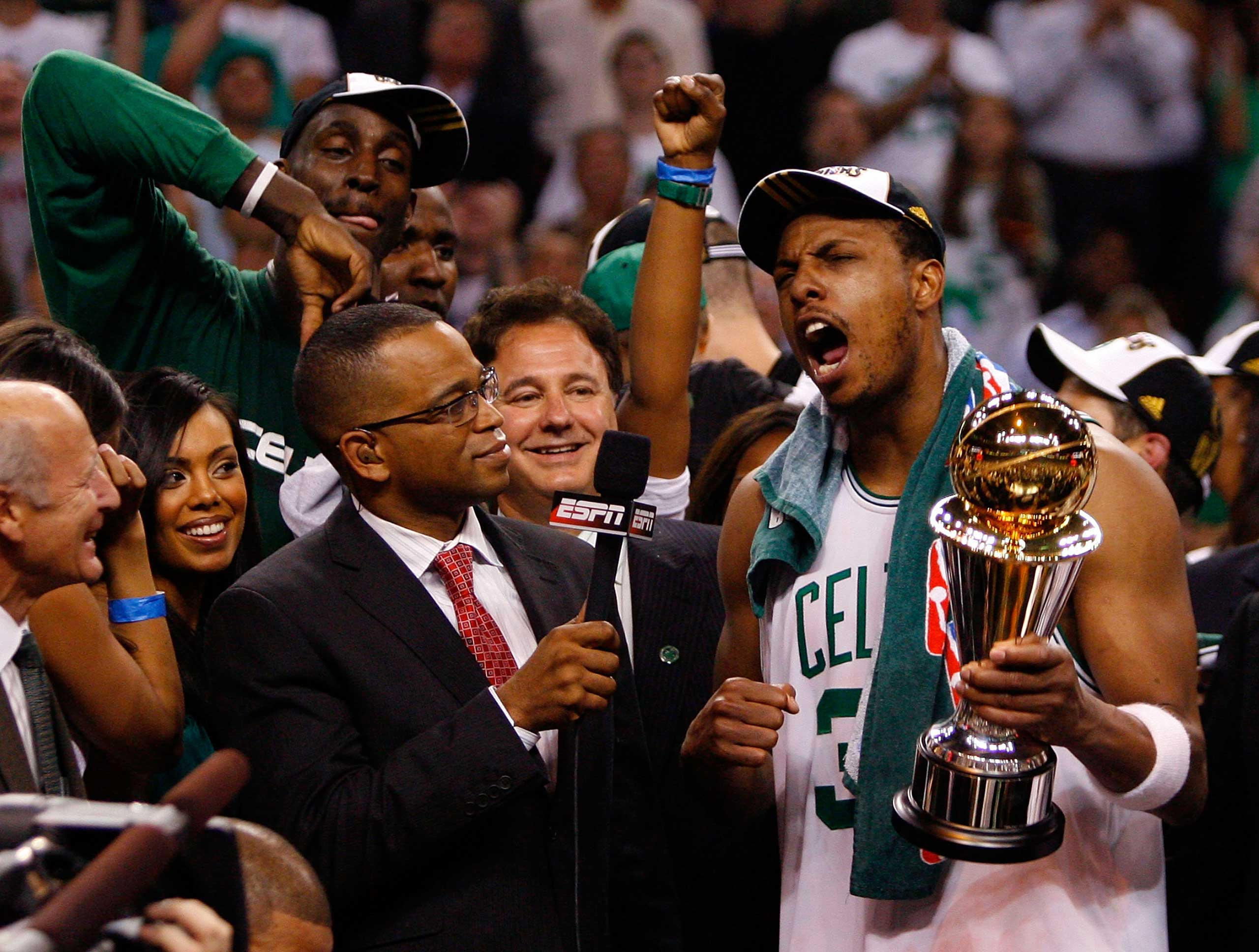 Paul Pierce of the Boston Celtics is interviewed by Scott at the end of Game Six of the 2008 NBA Finals against the Los Angeles Lakers on June 17, 2008 at TD Banknorth Garden in Boston.