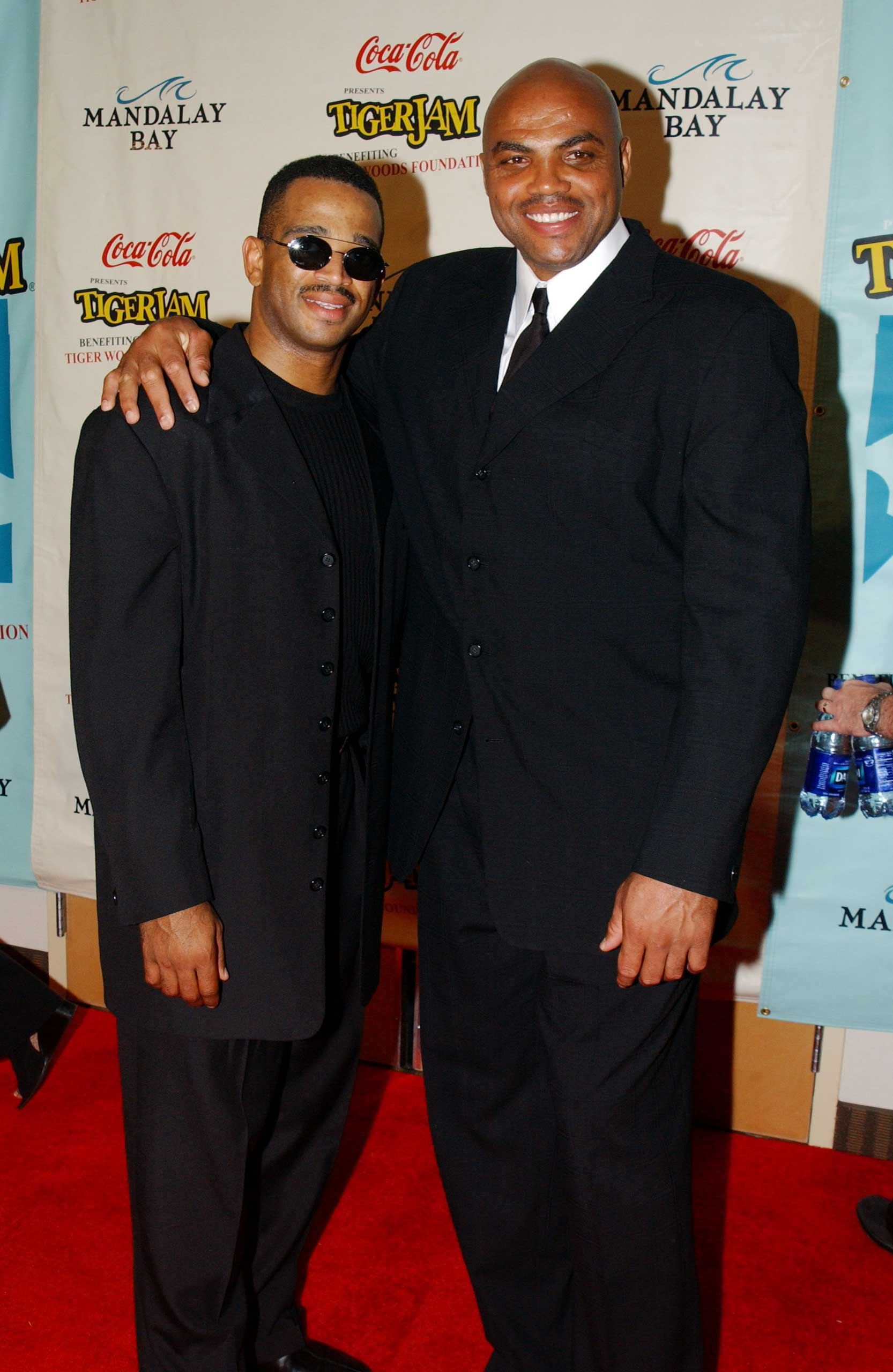 Stuart Scott and Charles Barkley during Tiger Jam V in Las Vegas on April 21, 2002.