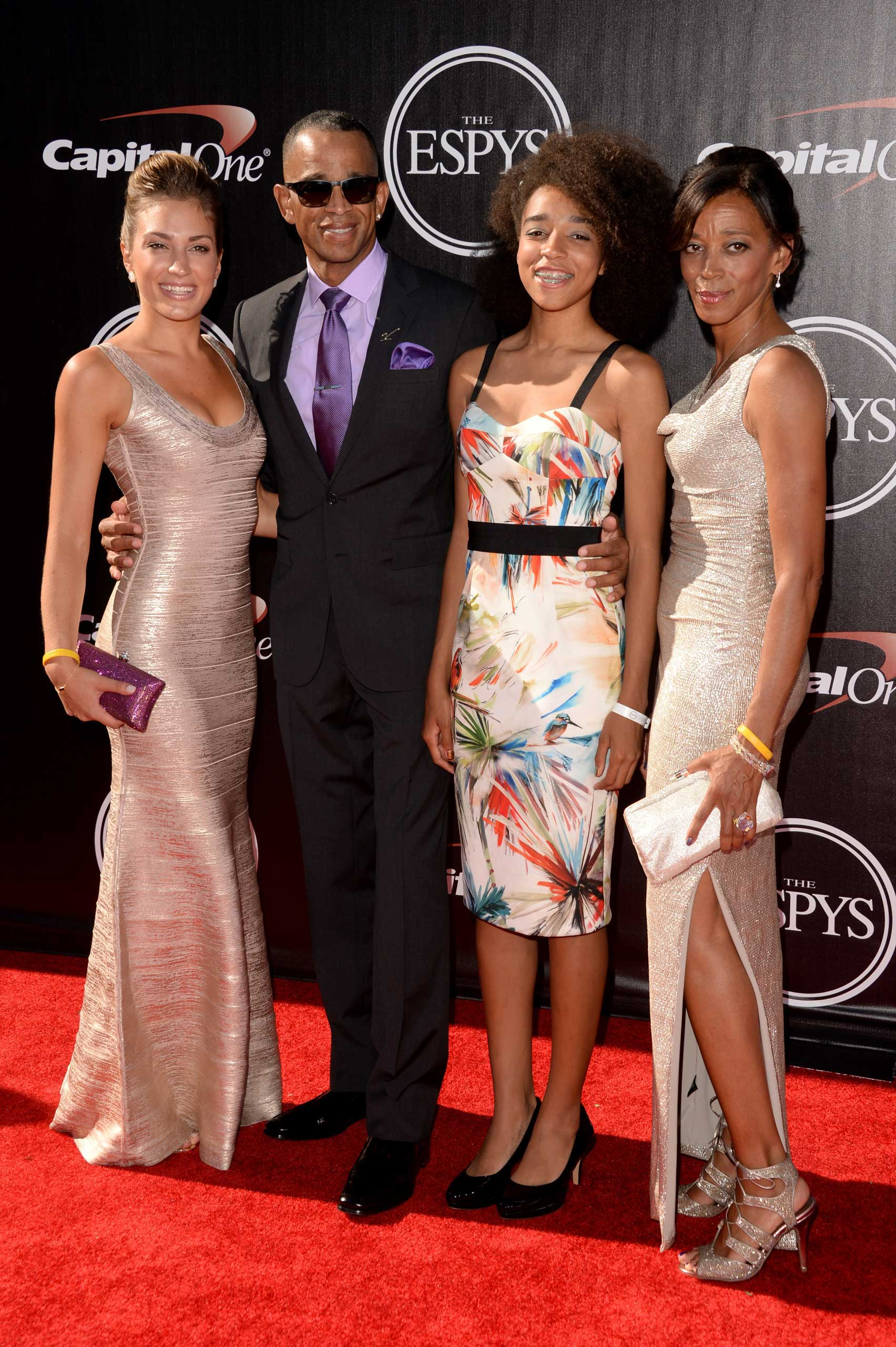 From Left: Kristin Spodobalski, Stuart Scott and Sydni Scott attend The 2014 ESPYS at Nokia Theatre L.A. Live on July 16, 2014 in Los Angeles.