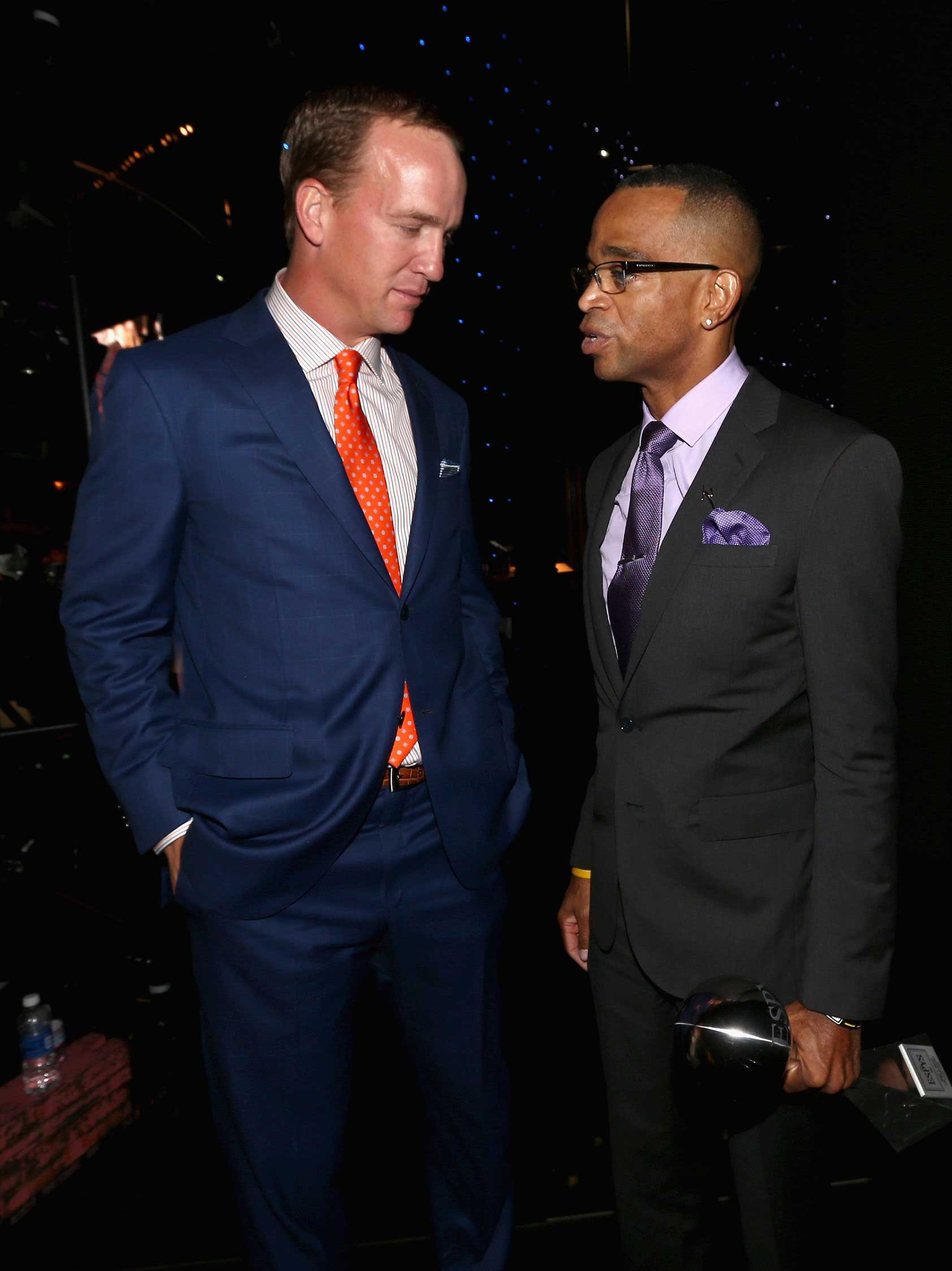 NFL quarterback Peyton Manning with Scott at The 2014 ESPYS at Nokia Theatre L.A. Live on July 16, 2014 in Los Angeles.