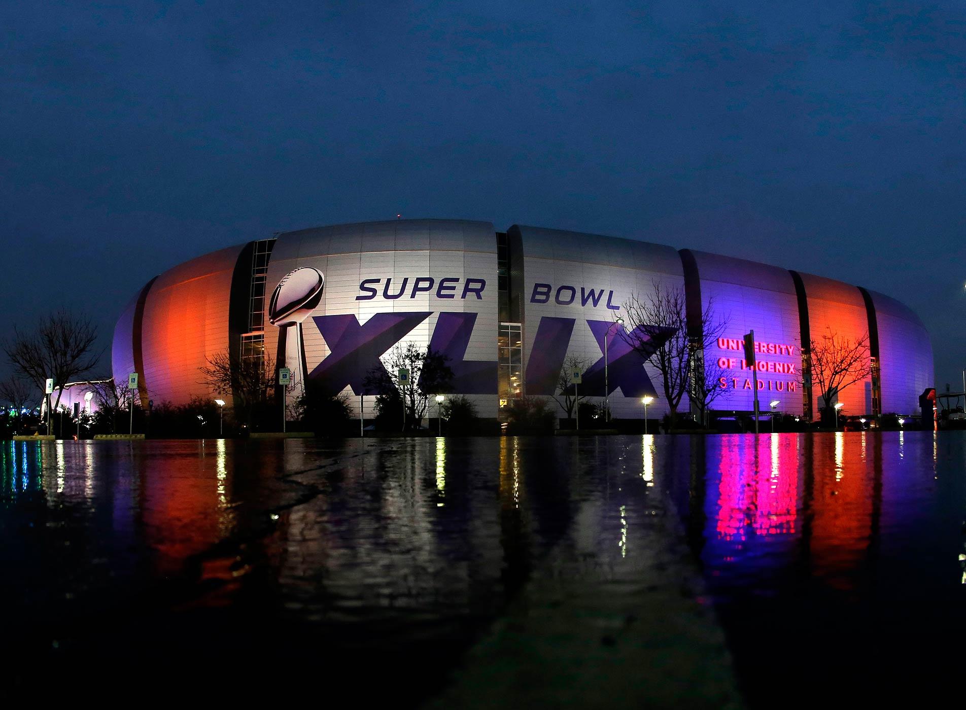The University of Phoenix Stadium, host of Super Bowl XLIX, is seen on Jan. 29, 2015, in Glendale, Ariz.