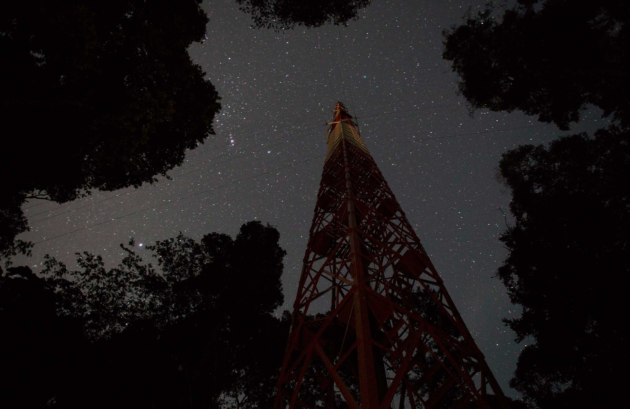 The Amazon Tall Tower Observatory (ATTO) is pictured in Sao Sebastiao do Uatuma in the middle of the Amazon forest in Amazonas state Jan. 8, 2015. The Amazon Tall Tower Observatory is a project of Brazil's National Institute of Amazonian Research and Germany's Max Planck Institute and will be equipped with high-tech instruments and an observatory to monitor relationships between the jungle and the atmosphere from next July.