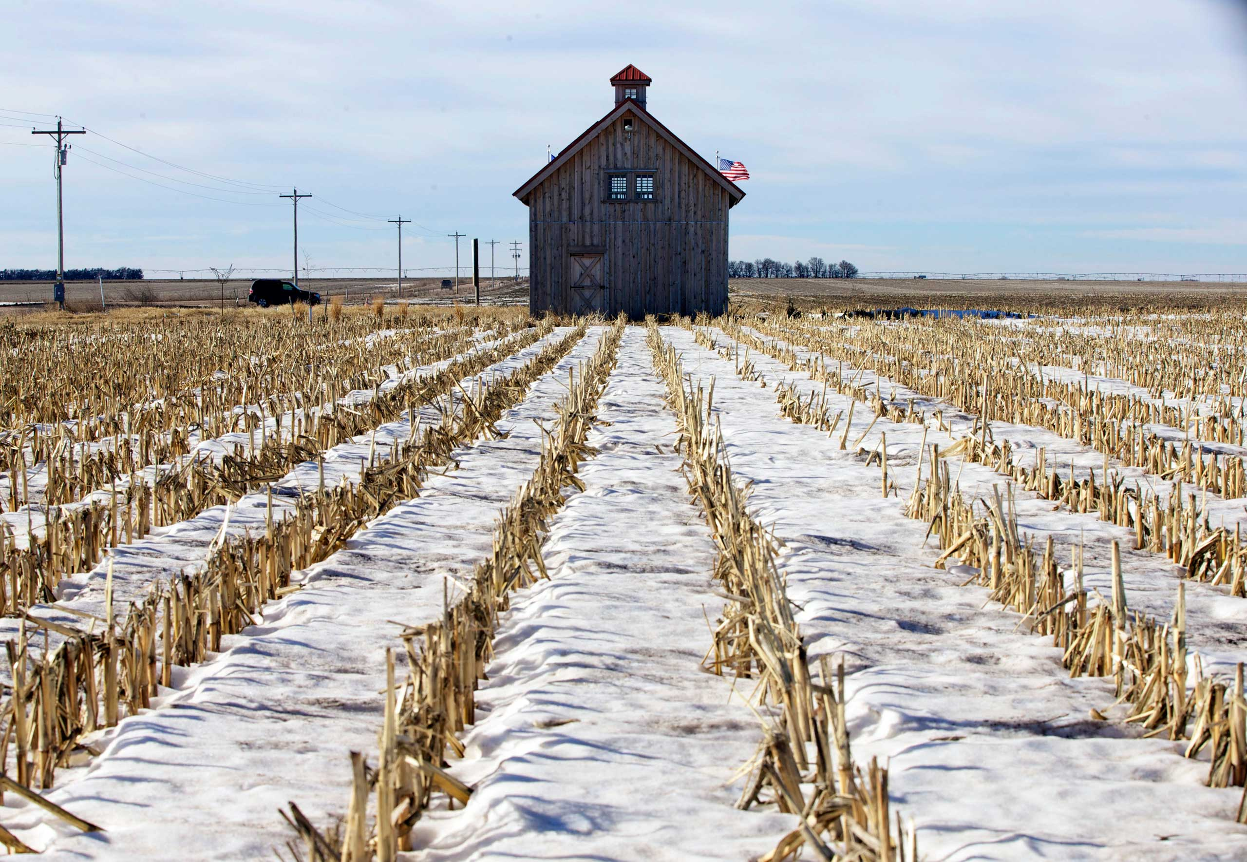 A barn called the Energy Barn, which was built by anti-pipeline activists directly on the route of the Keystone XL pipeline, stands in a snowy corn field near Bradshaw, Neb., Jan. 16, 2015.