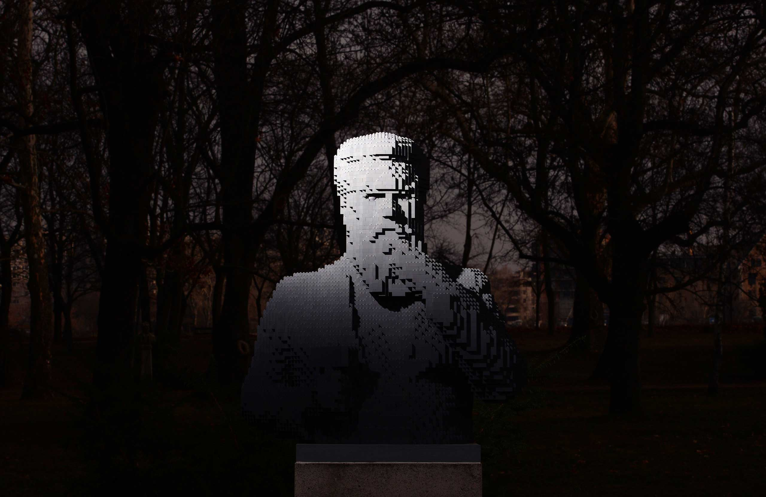 A stolen bronze statue of the late Hungarian sculptor Miklos Izso is substituted by a statue made of LEGO bricks, created by Hungarian lego artist  Balazs Doczy in Margaret Island of Budapest on Jan. 16, 2015.