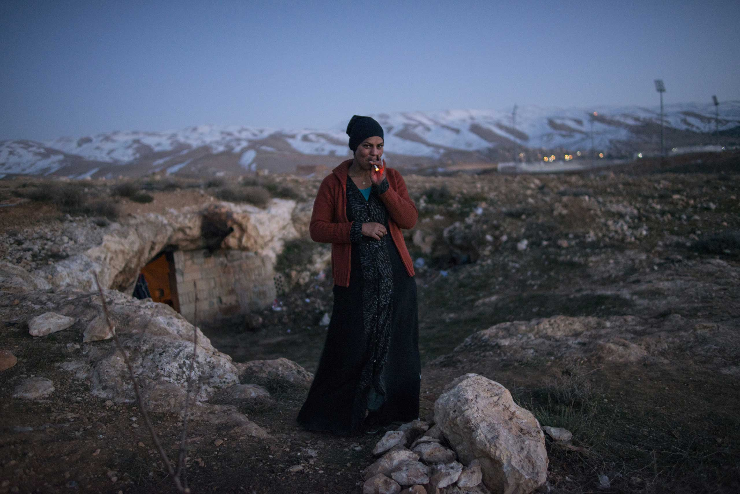 Columbia Journalism Review: A look at Lynsey Addario's biography, It's What I DoDalal, 21, a Syrian refugee from the Damascus suburbs stands in front of the cave she and her family have been staying in since crossing into Lebanon roughly a week prior,  in Baalbak, Lebanon, Jan. 22, 2013.