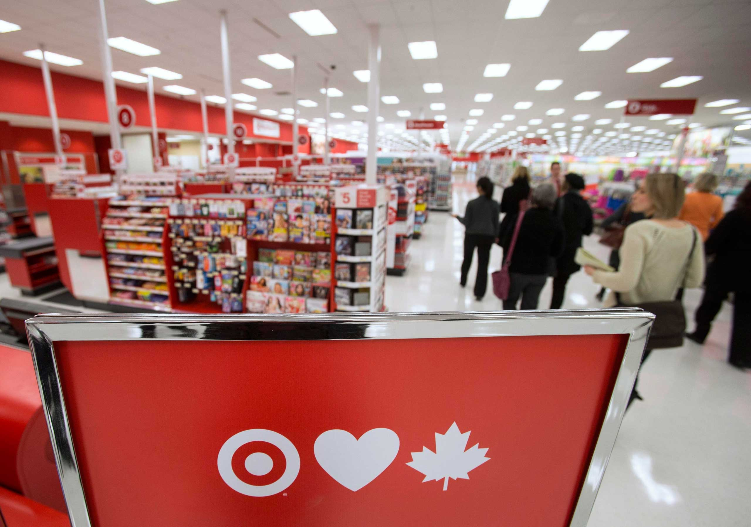 Members of the media tour Target Canada's pilot store in Guelph, Canada on March 4, 2013.