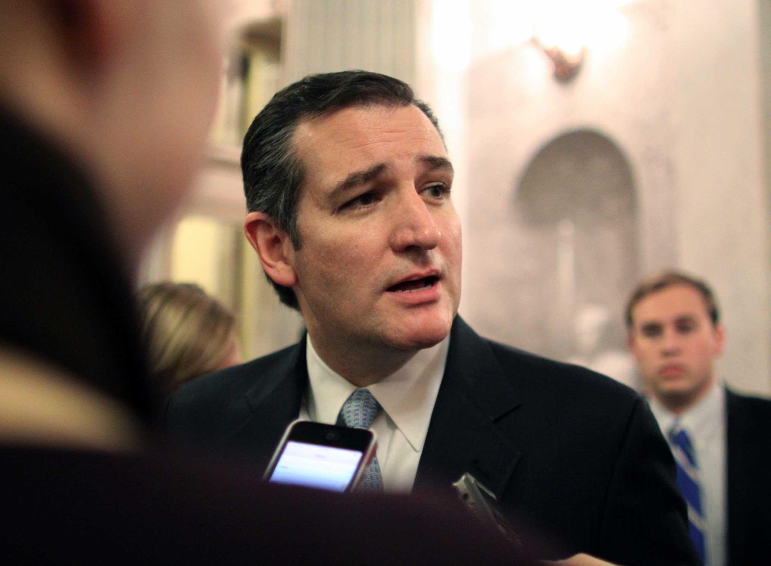 Sen. Ted Cruz (R-TX) speak to reporters on Dec. 13, 2014 on Capitol Hill in Washington.