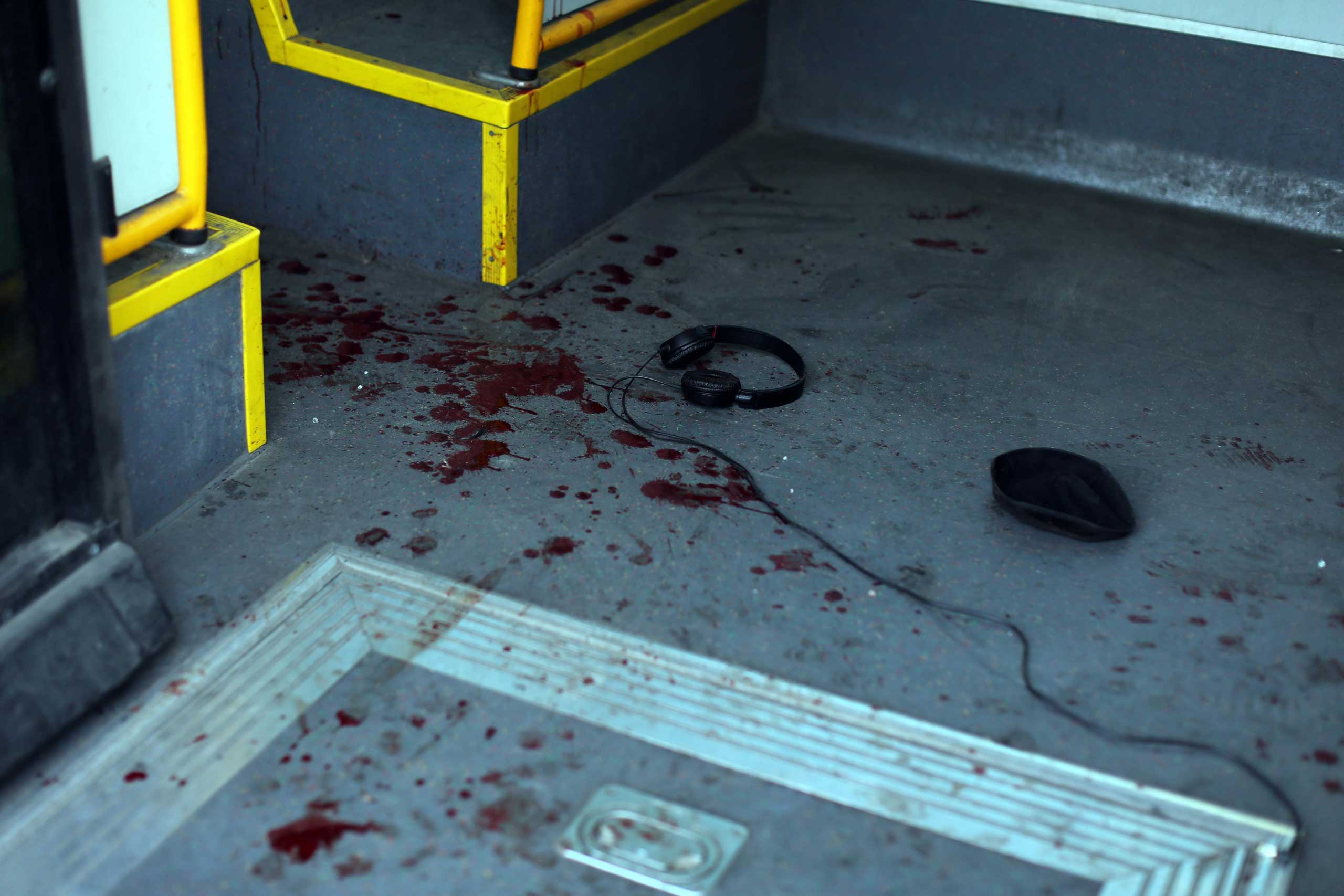 View inside the bus where a stabbing attack occurred in Tel Aviv, Jan. 21, 2015.