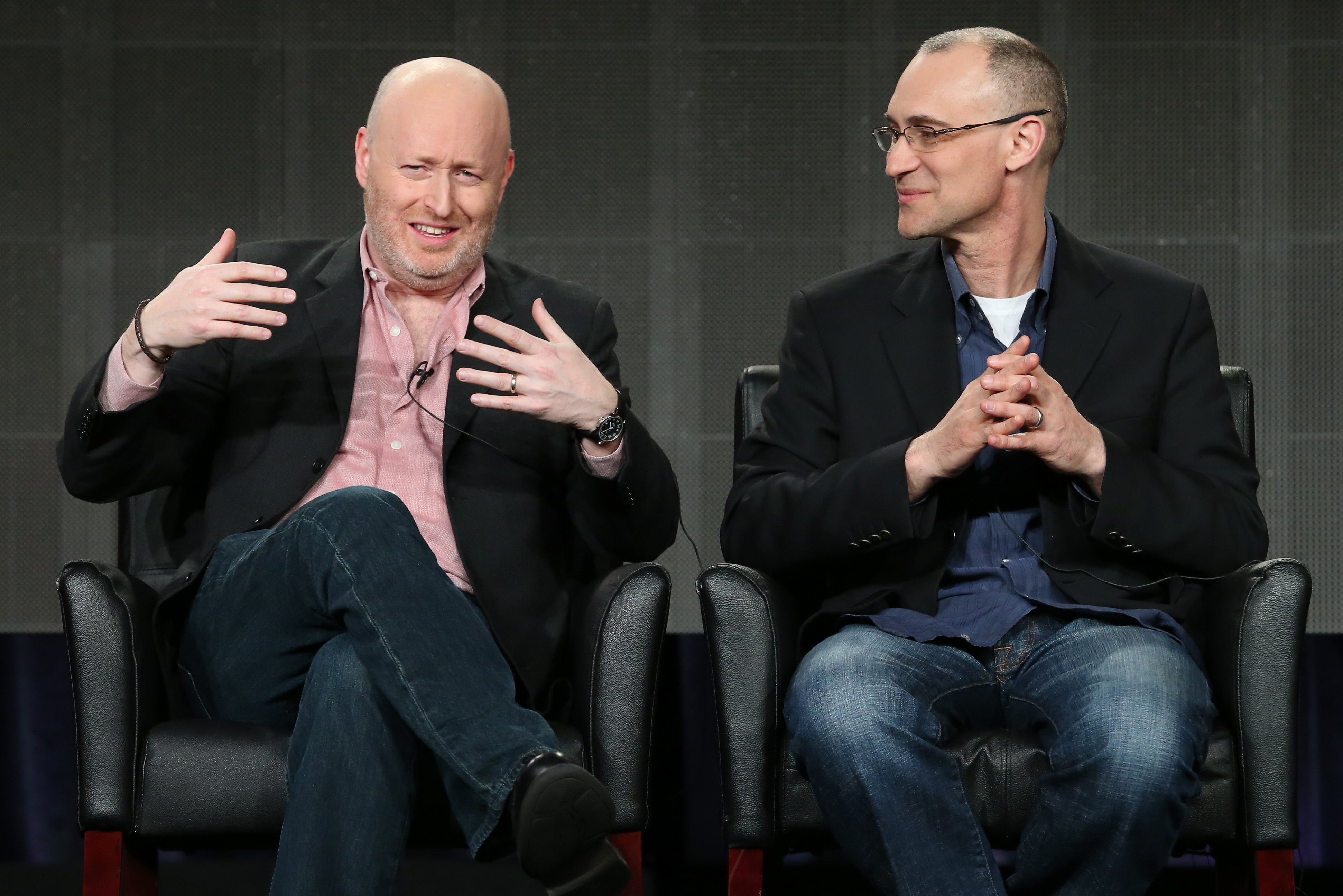 Creator/executive producer/writer Joe Weisberg and Executive producer/writer Joel Fields speak onstage during the 'The Americans' panel discussion at the FX Networks portion of the Television Critics Association press tour at  on Jan. 18 in California.