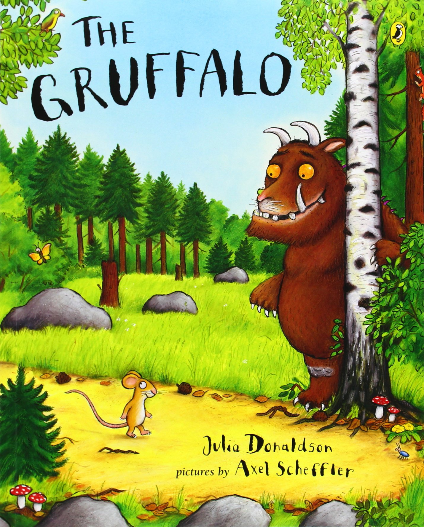 The Gruffalo, by Julia Donaldson, illustrations by Axel Scheffler.                                                                                                                            A clever mouse invents a fearsome creature to protect himself from predators in the woods—but is the Gruffalo really imaginary?                                                                                                                            Buy now: The Gruffalo