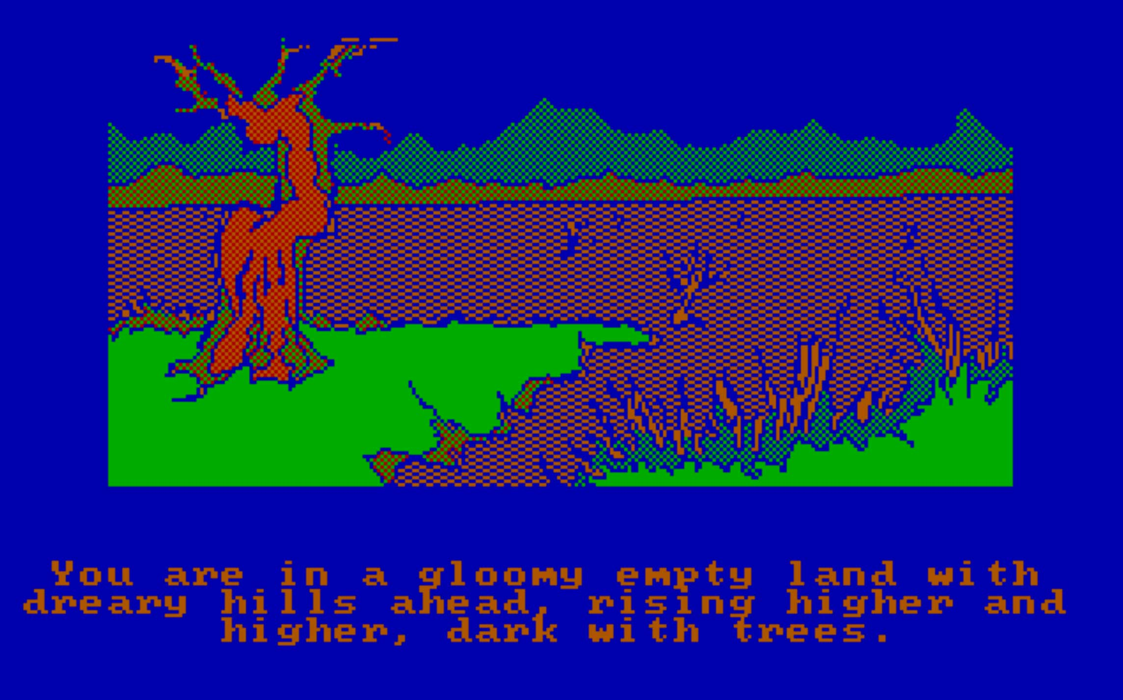 "<a href=""https://archive.org/details/msdos_Hobbit_The_1983"" target=""_blank""><strong>The Hobbit (1983)</strong></a>                                                                      Open door. Go East. Enjoy game. If you want to go really old school, you can turn the graphics off in this                                     text-based game, guiding Bilbo through Middle Earth using only your imagination as your eyes."