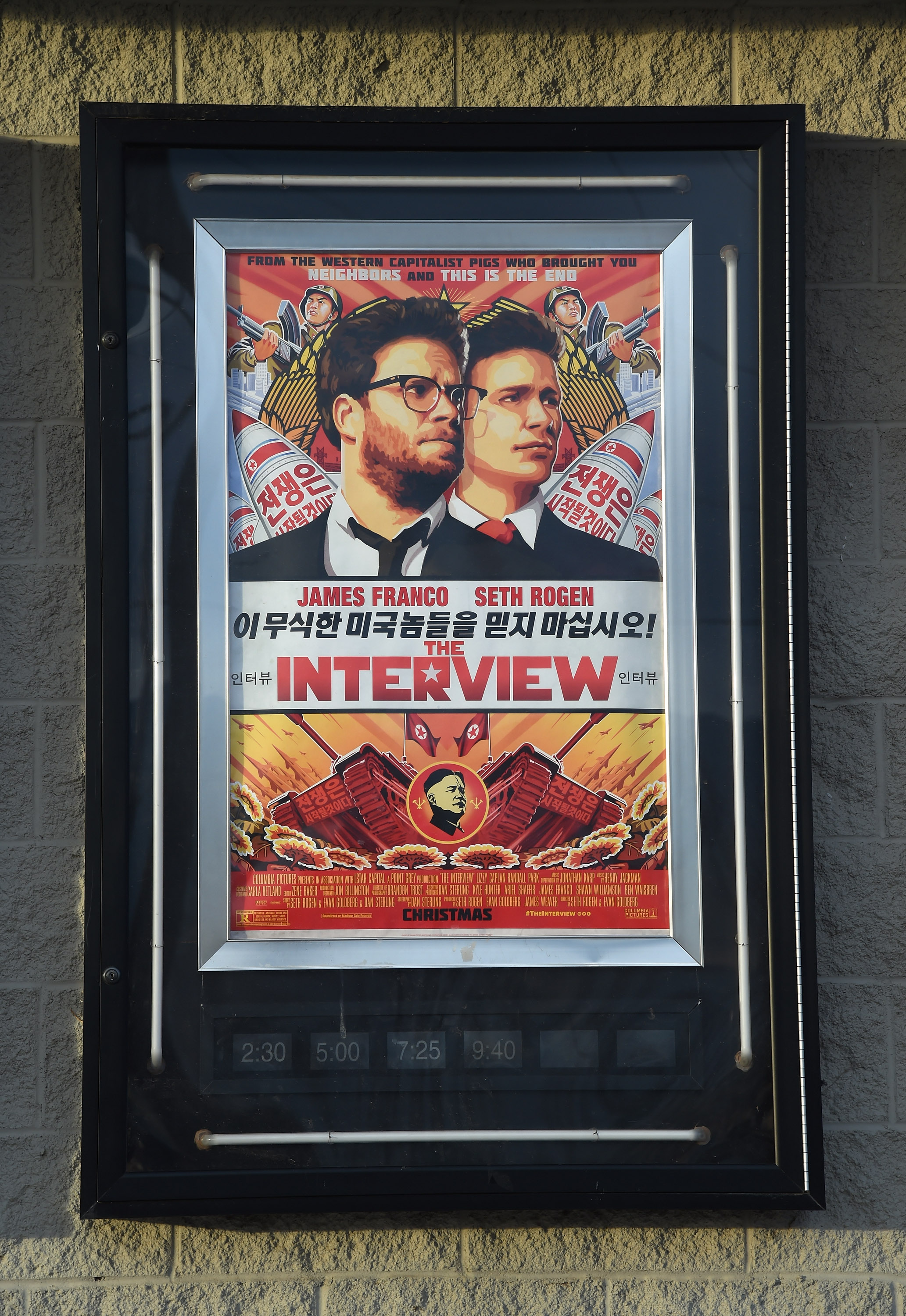 A movie poster for  The Interview  is displayed outside the Megaplex Theatres - Stadium 6 on Dec. 25, 2014 in Mesquite, Nev.