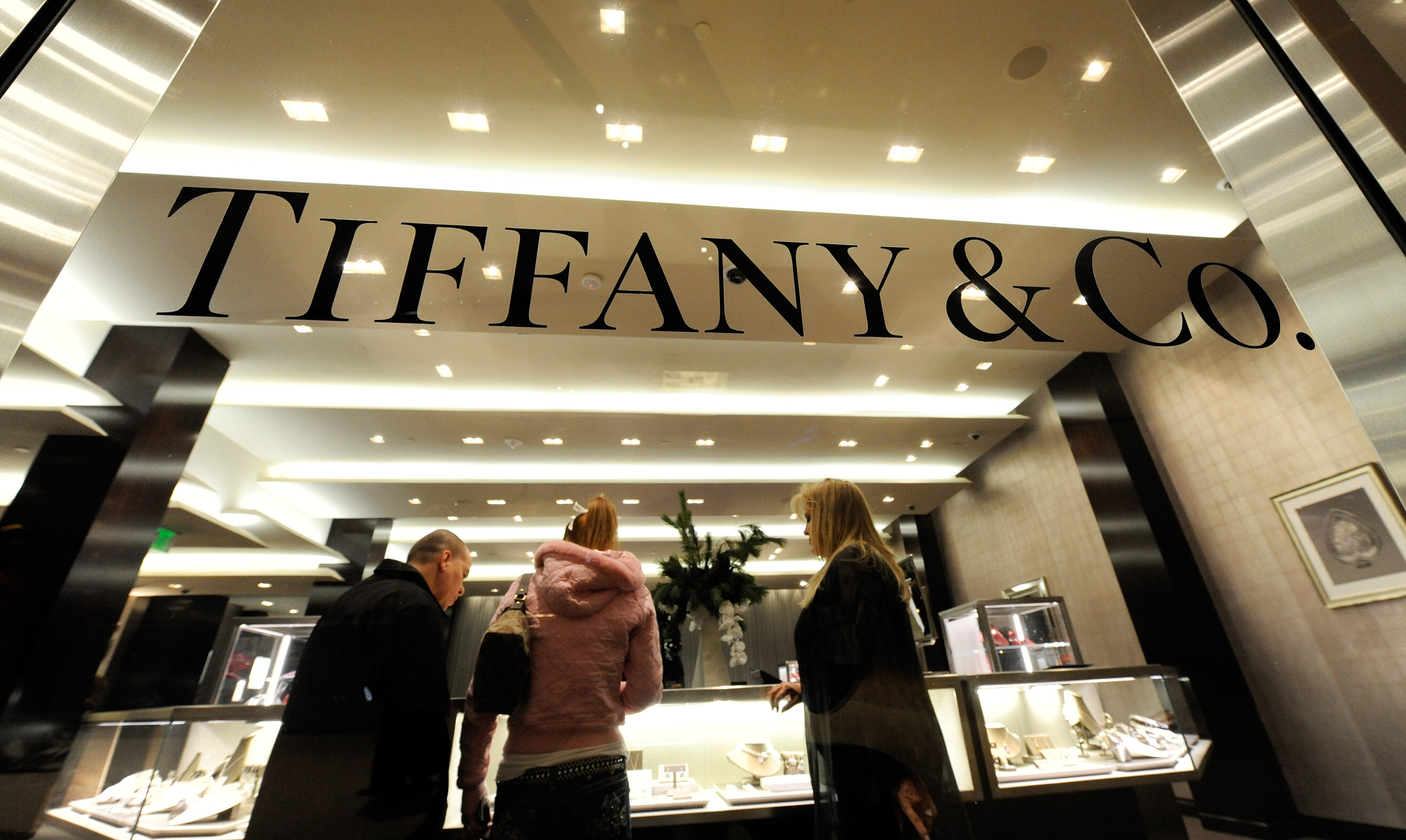 Shoppers appear at the Tiffany & Co. store during the grand opening of Crystals at CityCenter, the project's 500,000-square-foot retail and entertainment district, December 3, 2009 in Las Vegas.