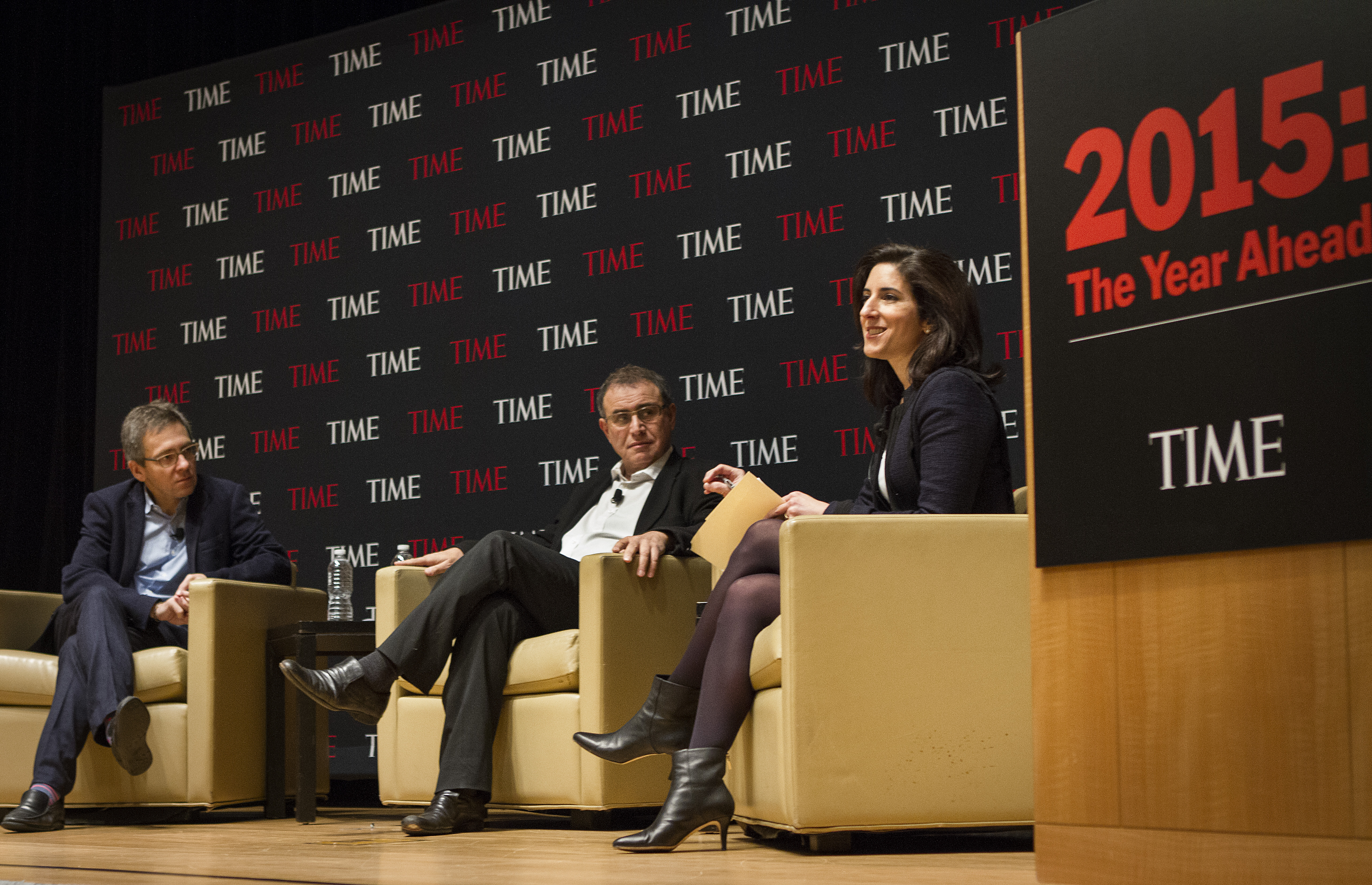 From Left: Ian Bremmer President and Founder of Eurasia Group, Nouriel Roubini, Chairman and Co-Founder of Roubini Global Economics and Rana Foroohar, Assistant Managing Editor at TIME speak on global politics and the economy at the Time & Life Building in New York City on Jan. 13, 2015.