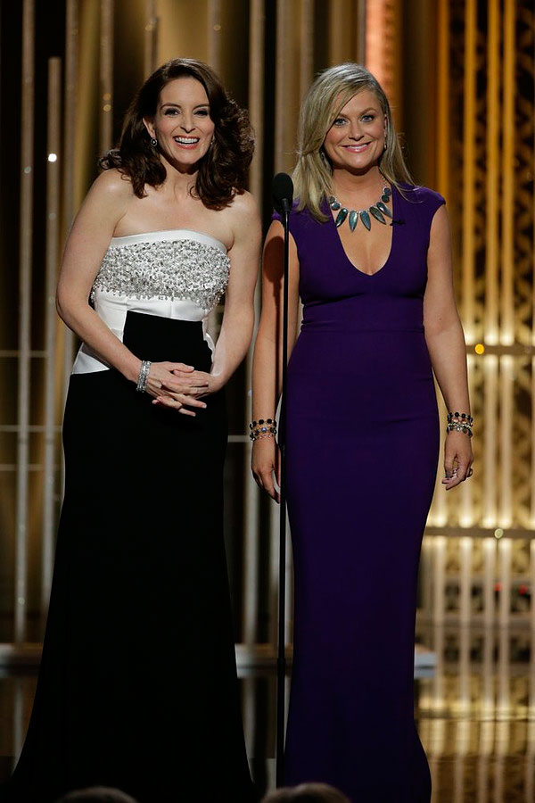 Tiny Fey and Amy Poehler, hosts at the 72nd Annual Golden Globe Awards held at the Beverly Hilton Hotel on Jan. 11, 2015.