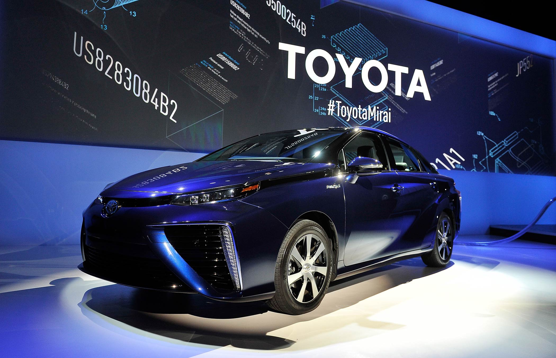 The Toyota Mirai is displayed at the 2015 International CES on January 5, 2015 in Las Vegas, Nevada.
