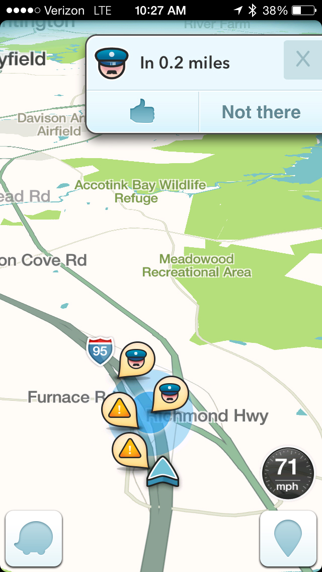 This image taken from the the Waze app on an iPhone, in Washington, shows police at the scene on a map on the app.