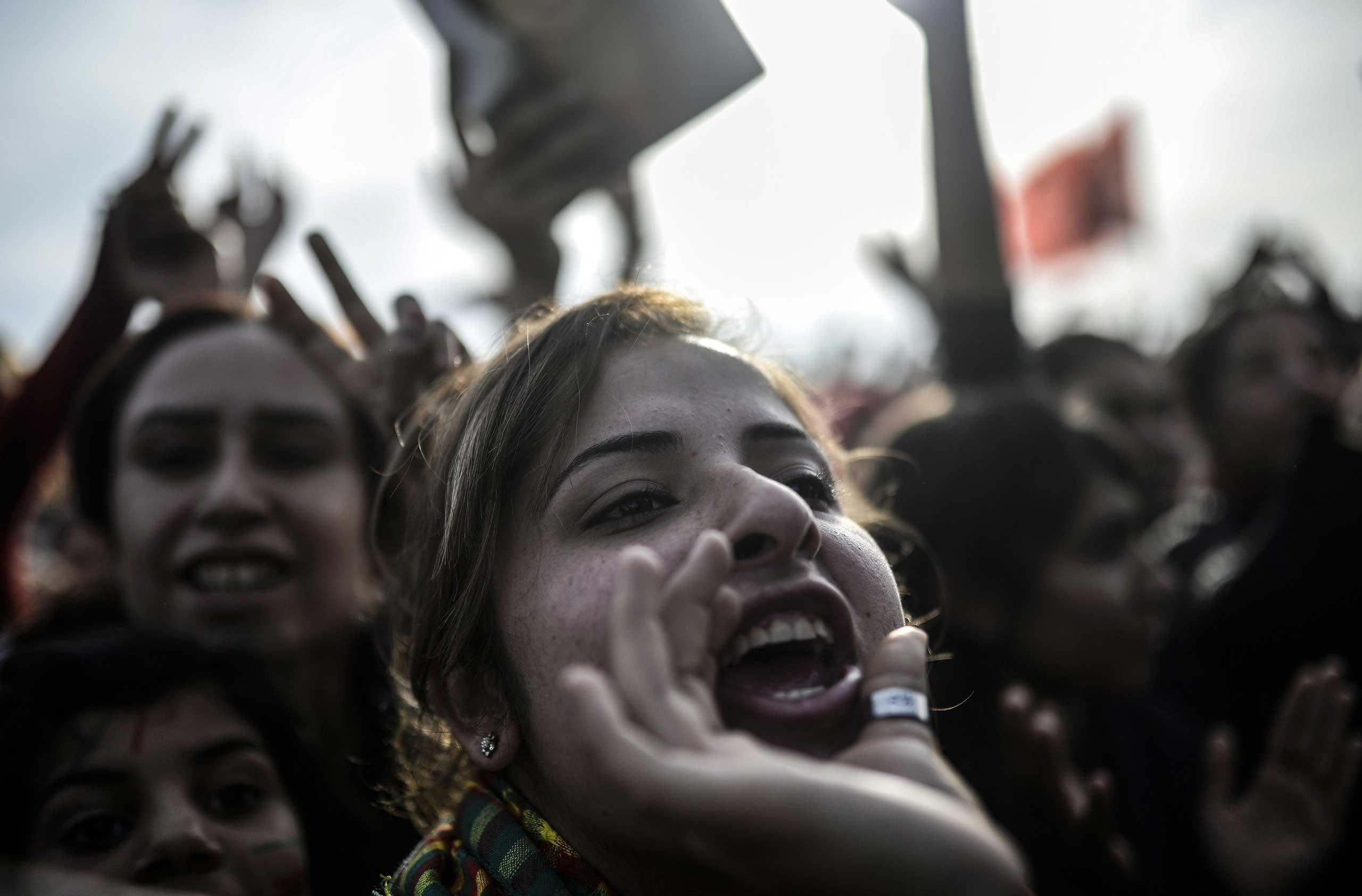 Kurdish women attend a celebration rally  near the Turkish-Syrian border in Suruc, Turkey, on Jan. 27, 2015.