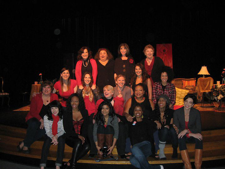 Julie Goldstein, second from the left in the second row, is seen amongst the 2011 V-Day LA cast