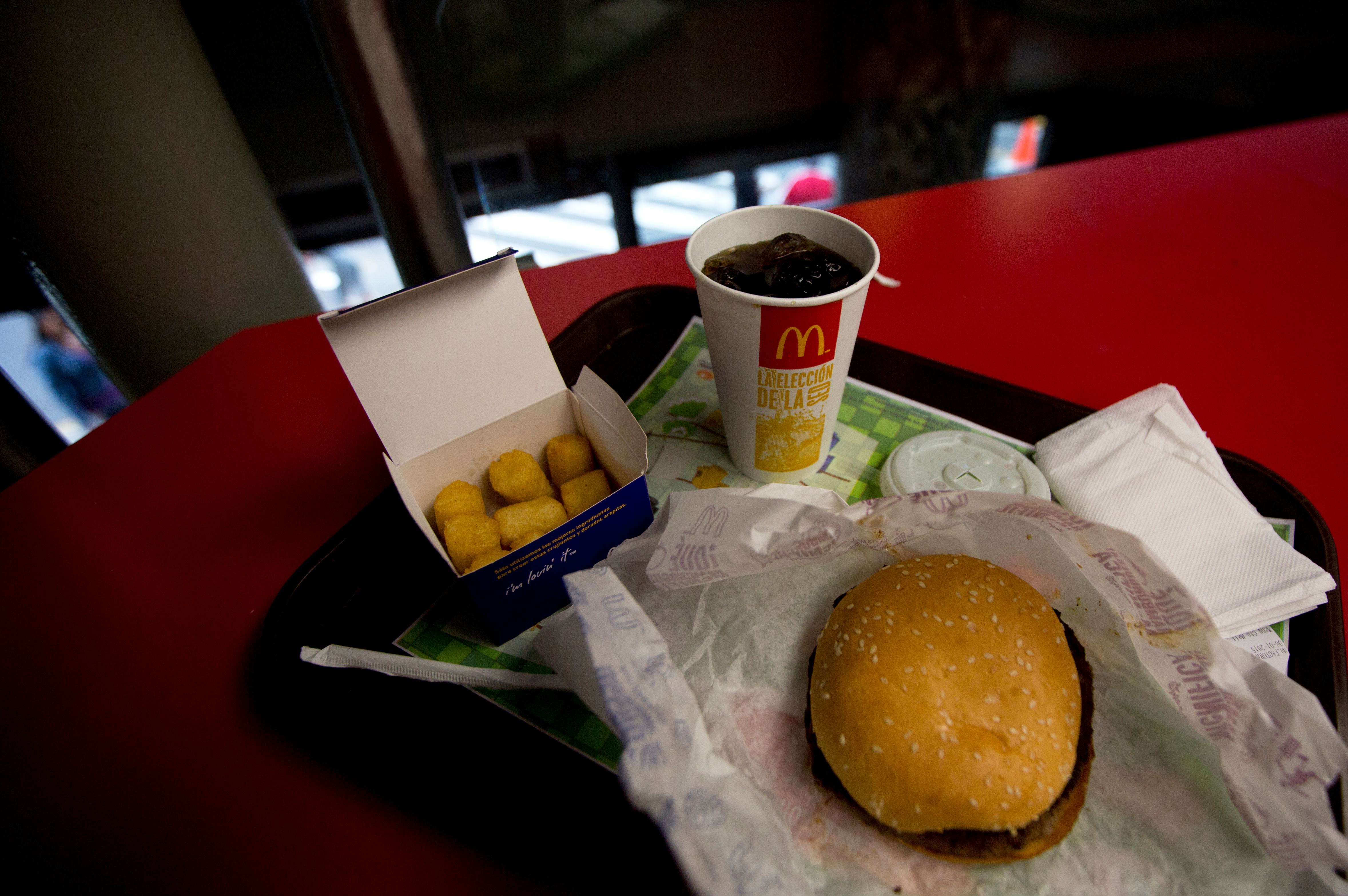 A Quarter Pounder meal is served with arepas or corn cakes at a local McDonald's, in Caracas, Venezuela, on Jan. 6, 2015.