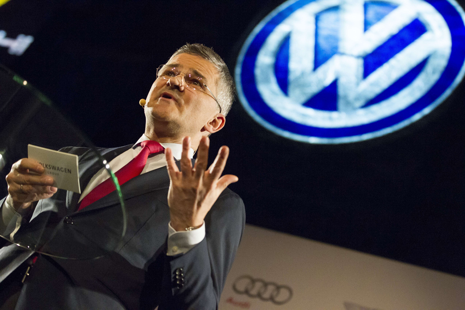 Michael Horn, President and CEO of Volkswagen Group of America, speaks at a press event on the eve of The North American International Auto Show in Detroit, Michigan, on Jan. 11, 2015.