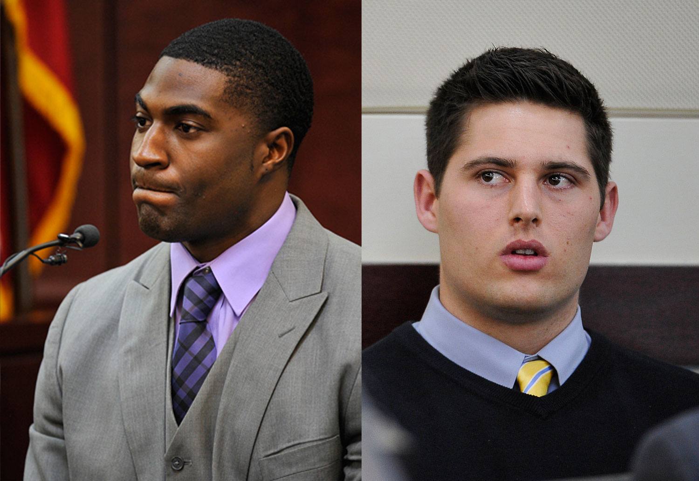 Former Vanderbilt football players Cory Batey and Brandon Vandenburg at trial on Jan. 26, 2015, in Nashville, Tenn.