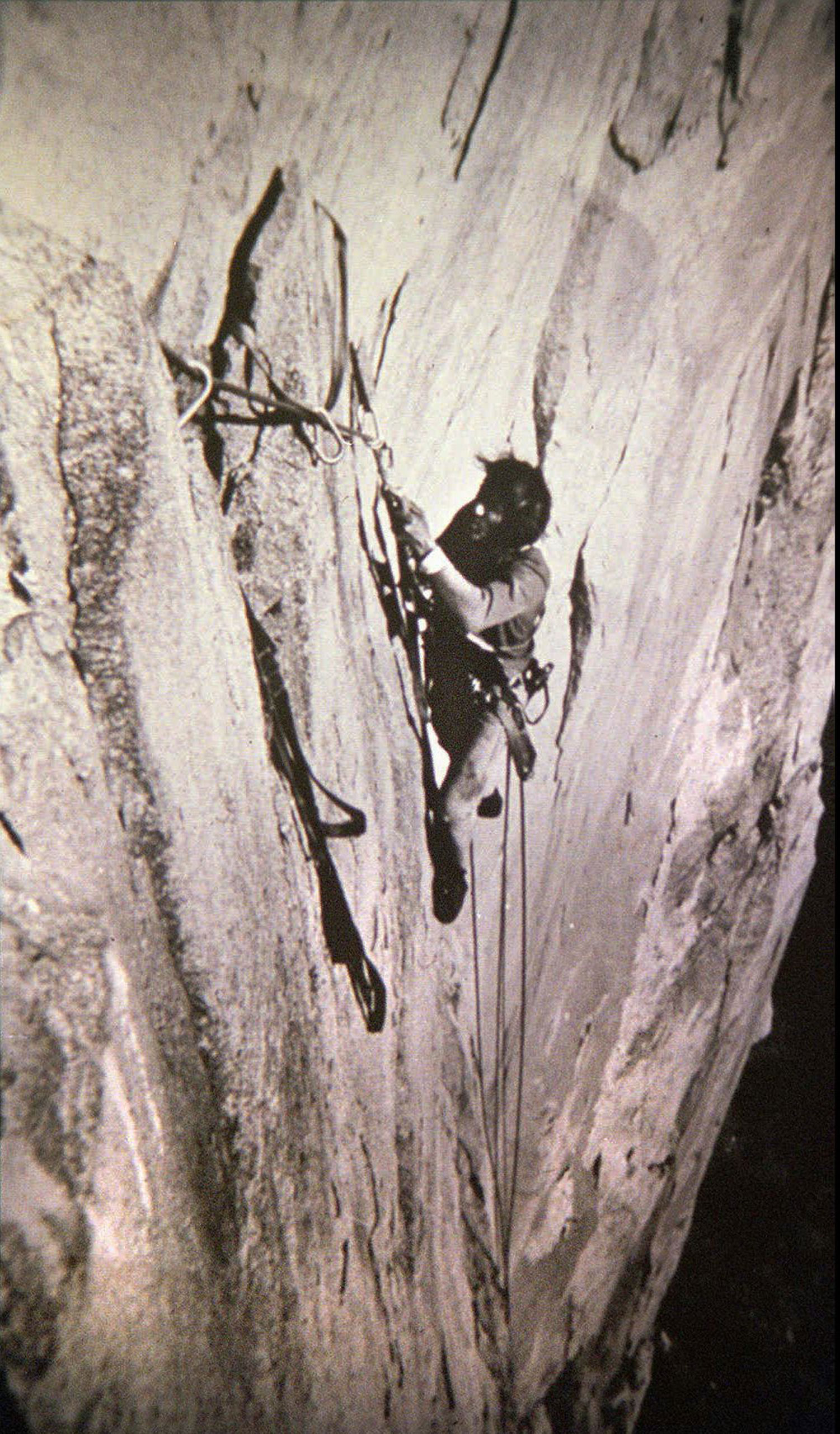 1970: Warren Harding wrestles the Dawn Wall                                                              Warren Harding and Dean Caldwell (no relation to Tommy Caldwell) were the first to climb the Dawn Wall in 1970. At the time, the route was called Wall of the Early Morning Light. The team heavily relied on ropes and bolts, yet still the climb was a struggle because vast swaths of the route are very sheer and very steep. To boot, the team's progress was stymied for several days by a severe storm. Park rangers attempted a rescue mission but Harding, determined to make it to the top, shooed them away.