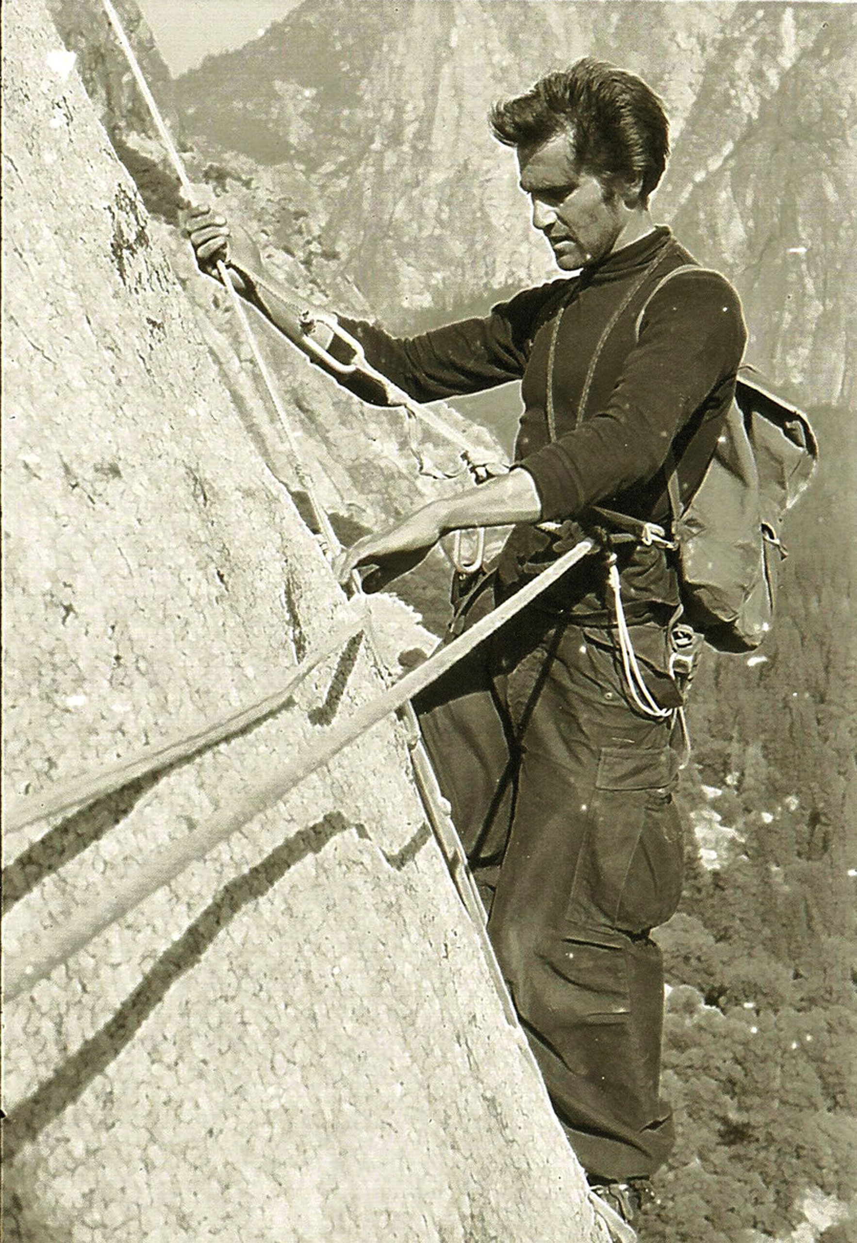 "1958: Warren Harding climbs the Nose                                                              El Capitan soars 3,000 vertical feet above the Yosemite Valley. The climbing community once considered the granite pillar insurmountable. Warren Harding proved otherwise. He was the first climber to lead a team up a route known as the Nose, which today is considered one of the great classics of ""big wall"" climbing. Harding worked on the project over two climbing seasons – a collective 47 days – and finally managed to reach the top in November 1958."