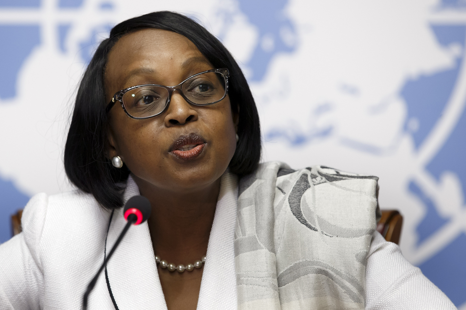 Matshidiso Moeti speaks to the media during a press conference at the European headquarters of the U.N. in Geneva on Jan.  27, 2015