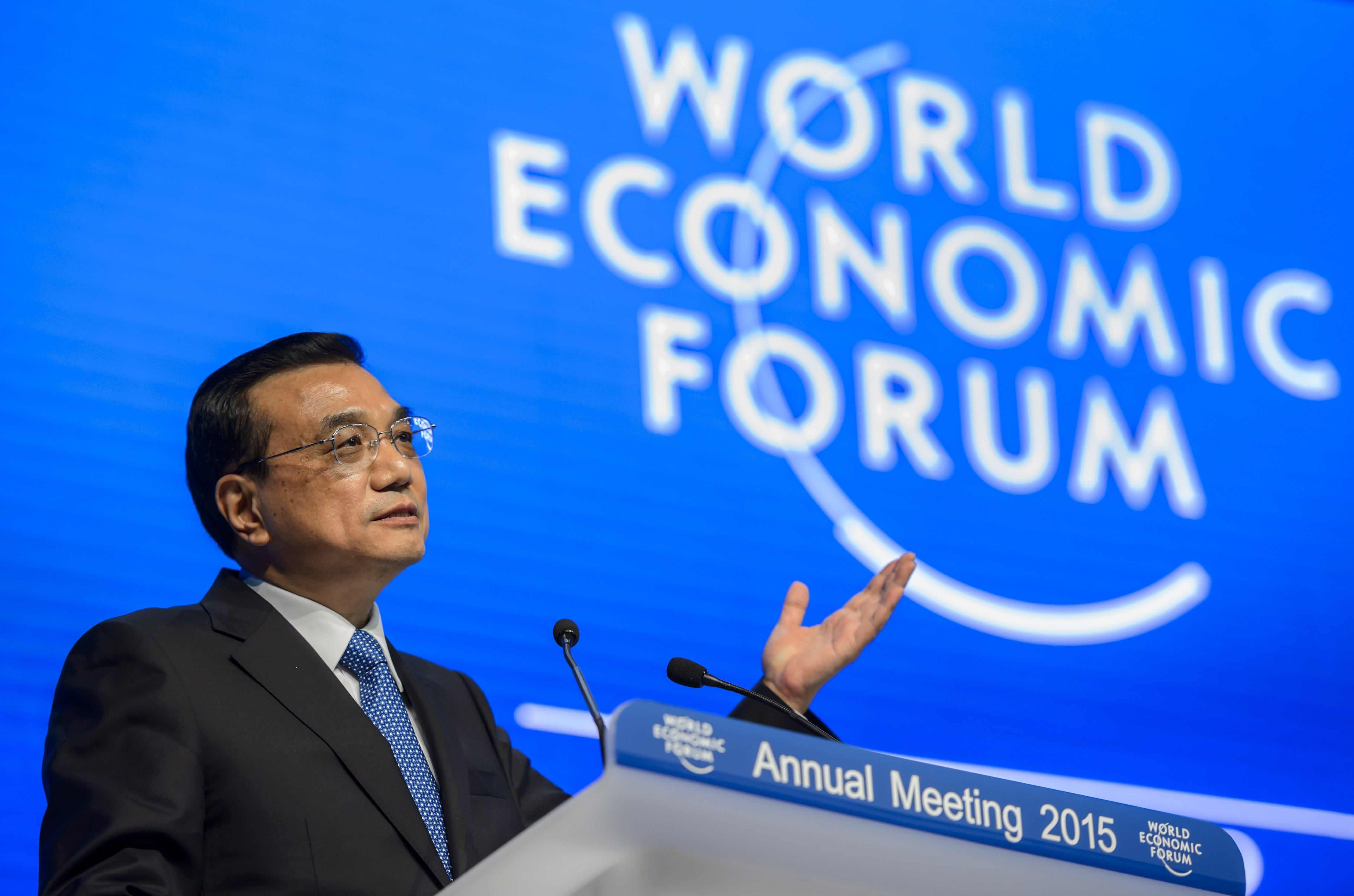 Chinese Premier Li Keqiang attends a session of the World Economic Forum (WEF) annual meeting on Jan. 21, 2015 in Davos, Switzerland.