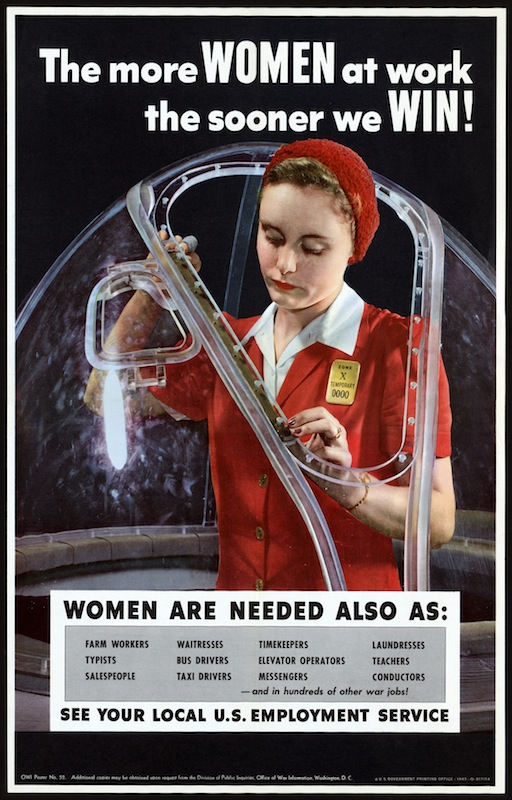 American propaganda poster showing a woman working in an airplane factory, circa 1943